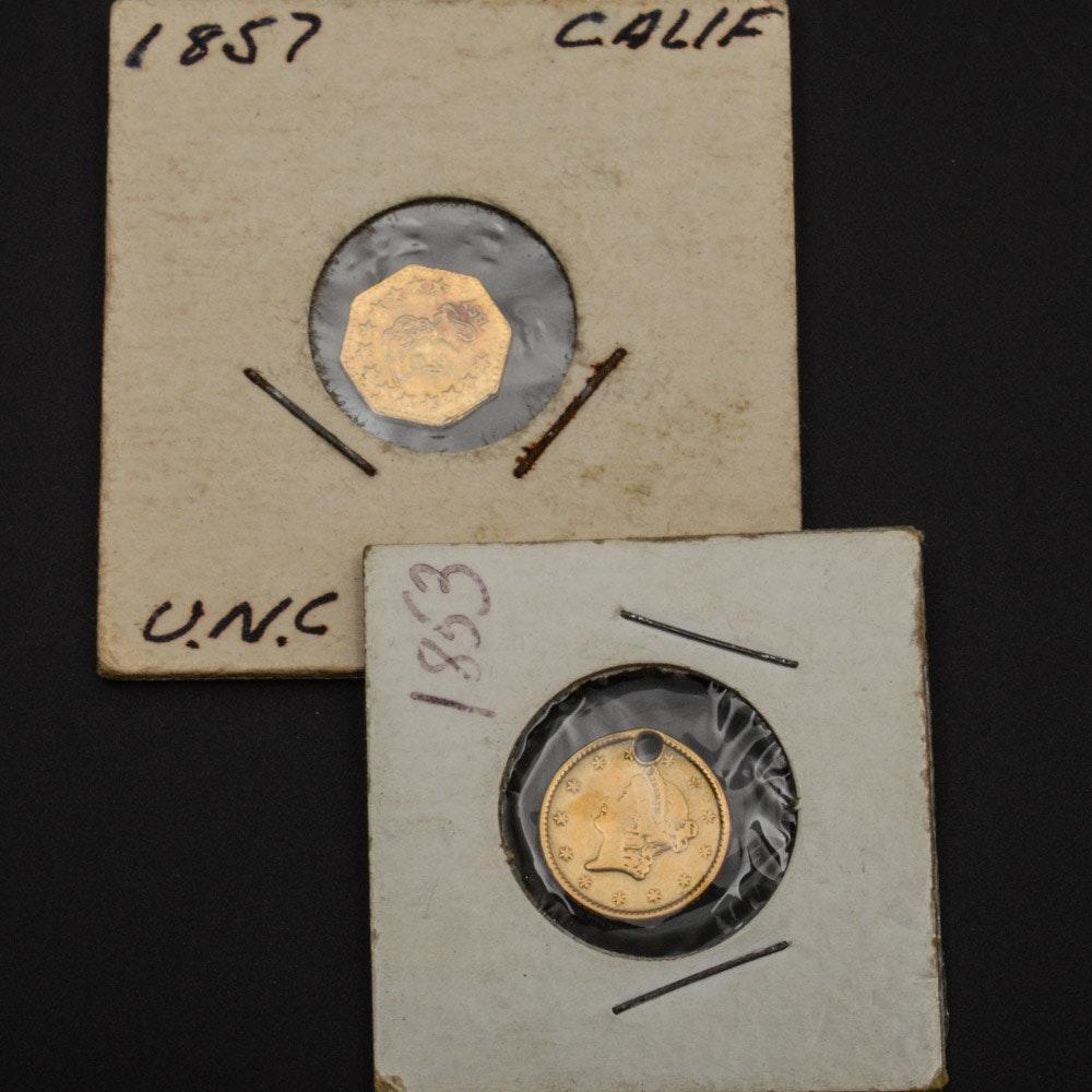 1853 Liberty Head Gold Dollar and Fantasy California Fractional Gold Token