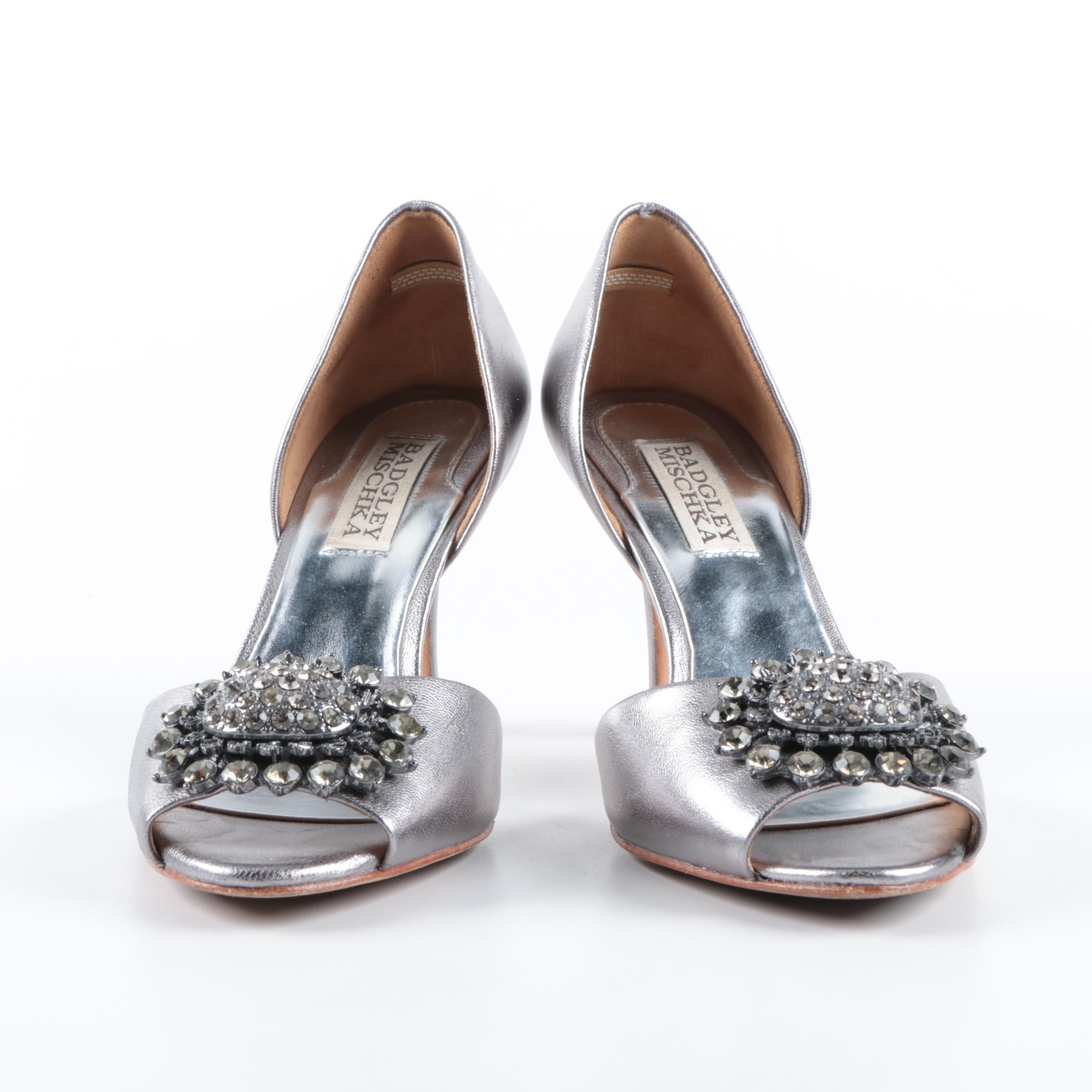 Badgley Mischka Leather Rhinestone Heels