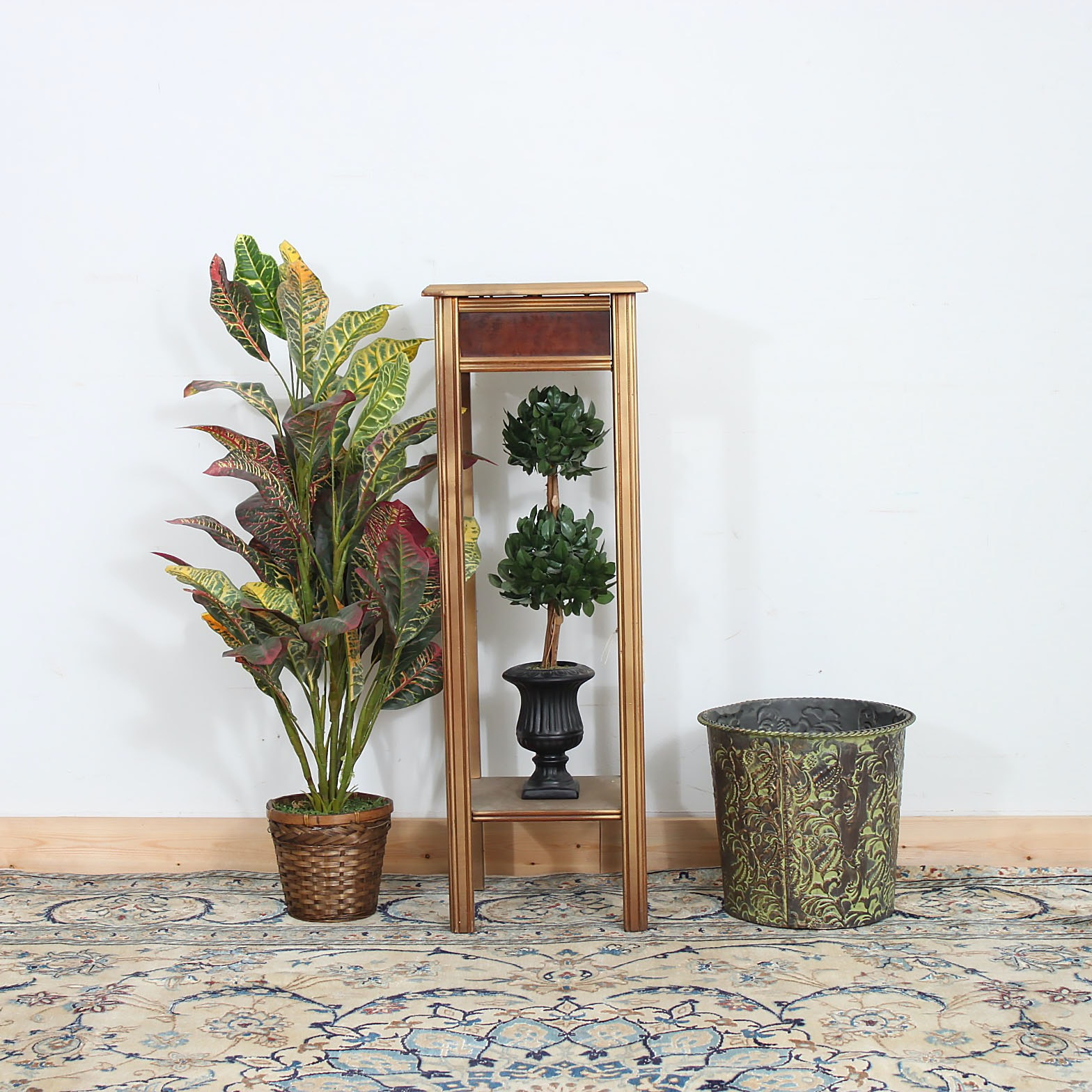 Contemporary Plant Stand with Assortment of Artificial Plants