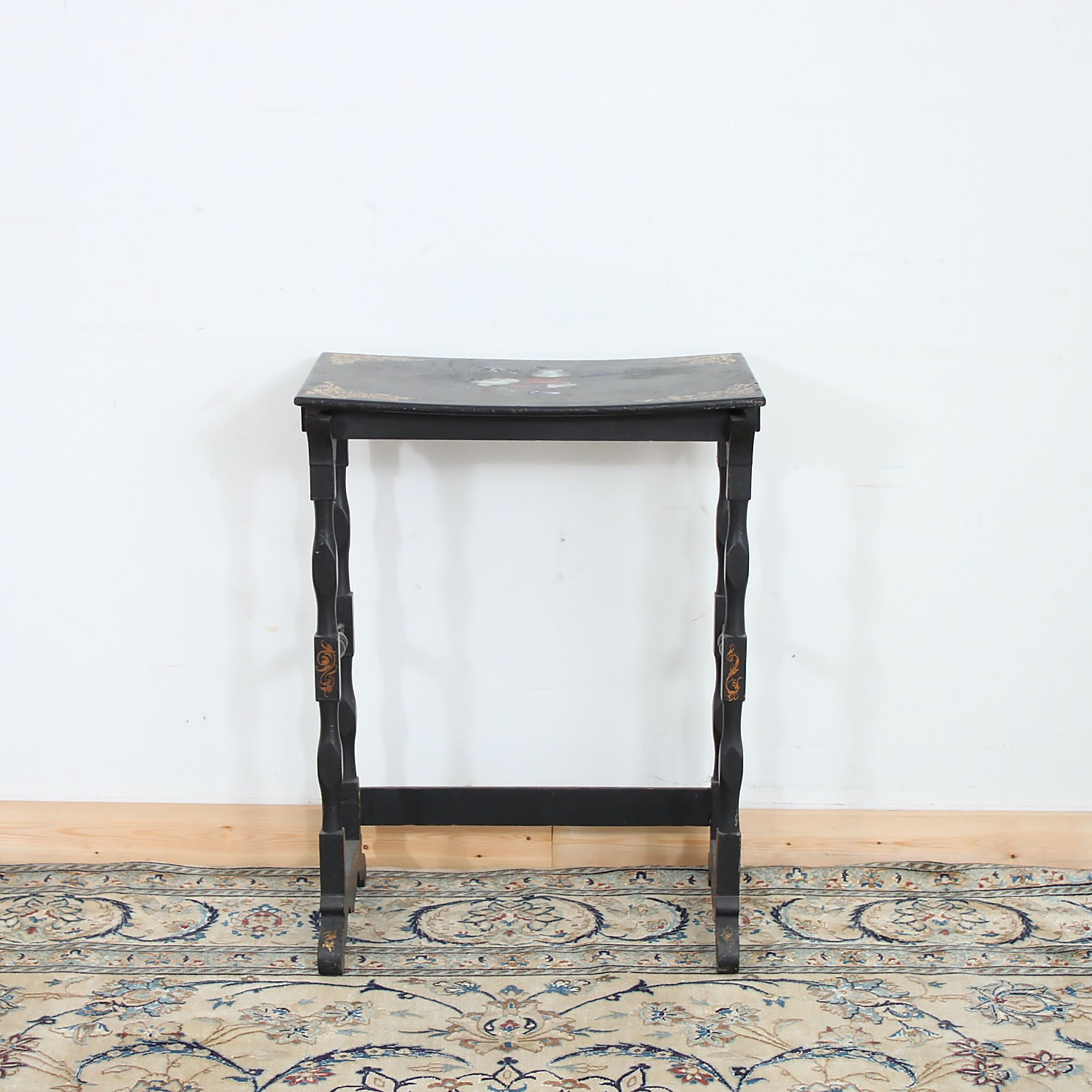 Hitchcock Style Black Lacquered Accent Table
