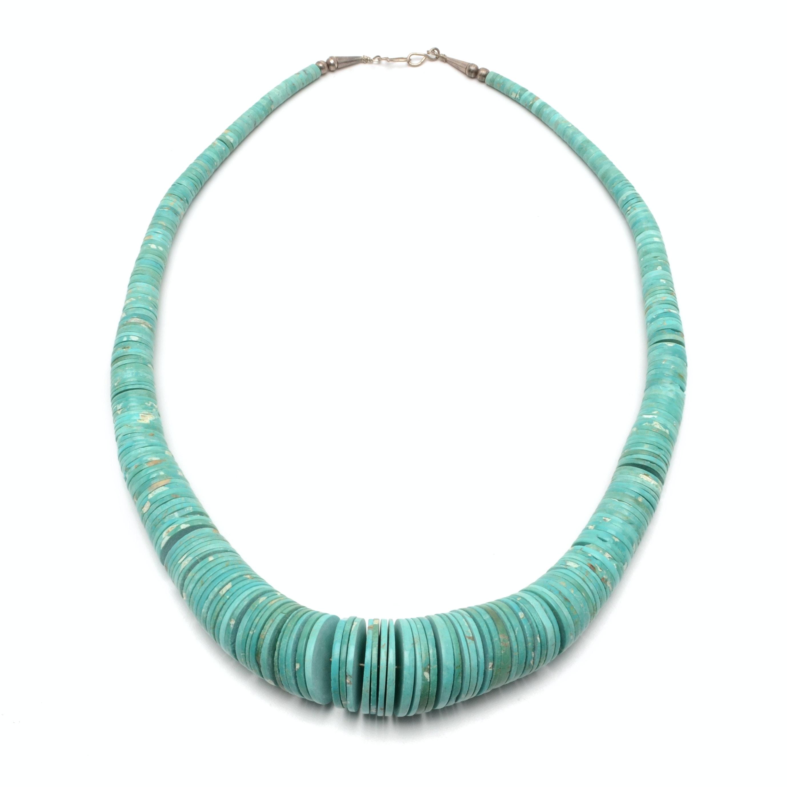 Vintage Southwestern Style Heishi Turquoise Disc Necklace