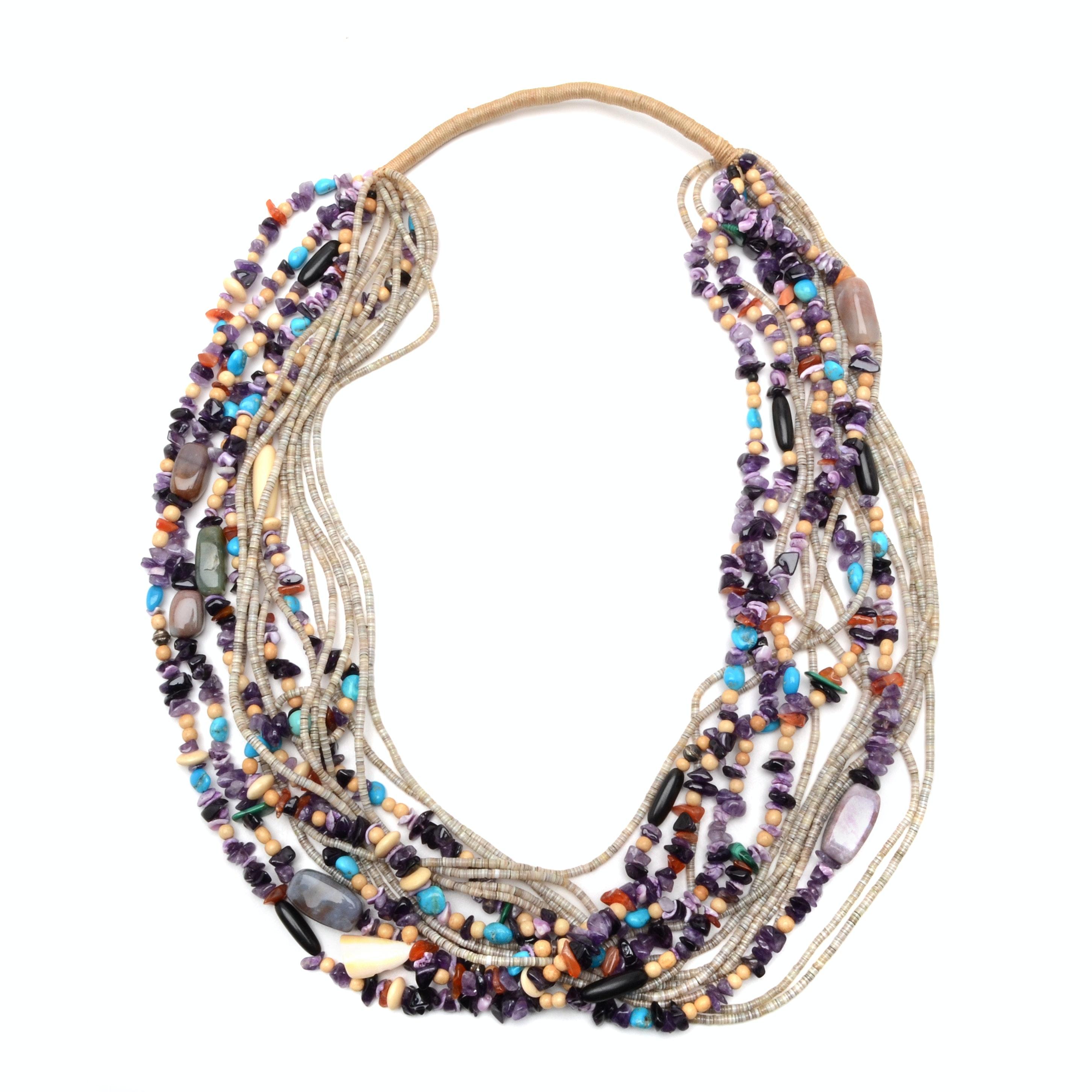 Vintage Fifteen Strand Hard Stone Necklace