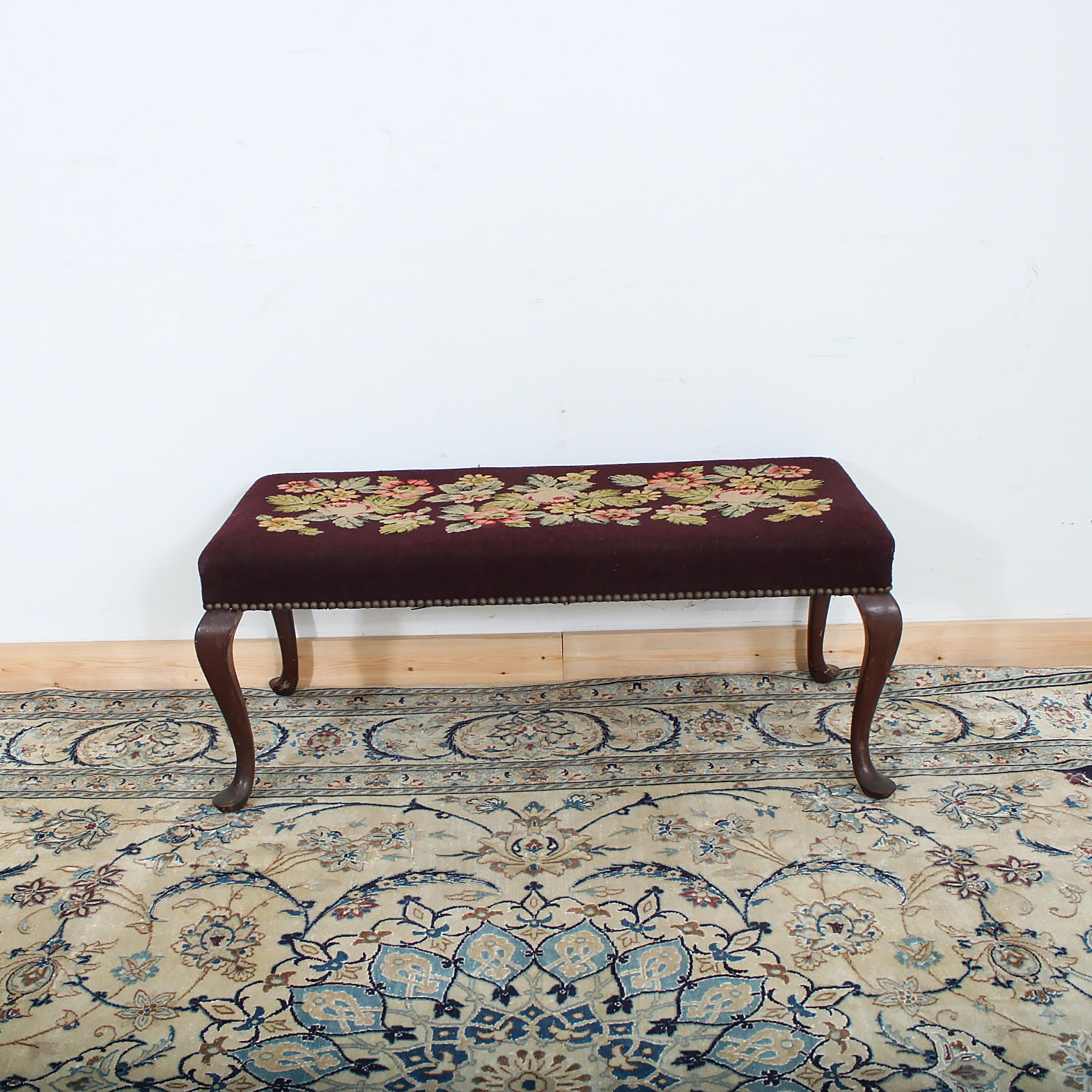 Vintage Queen Anne Style Needlepoint Bench