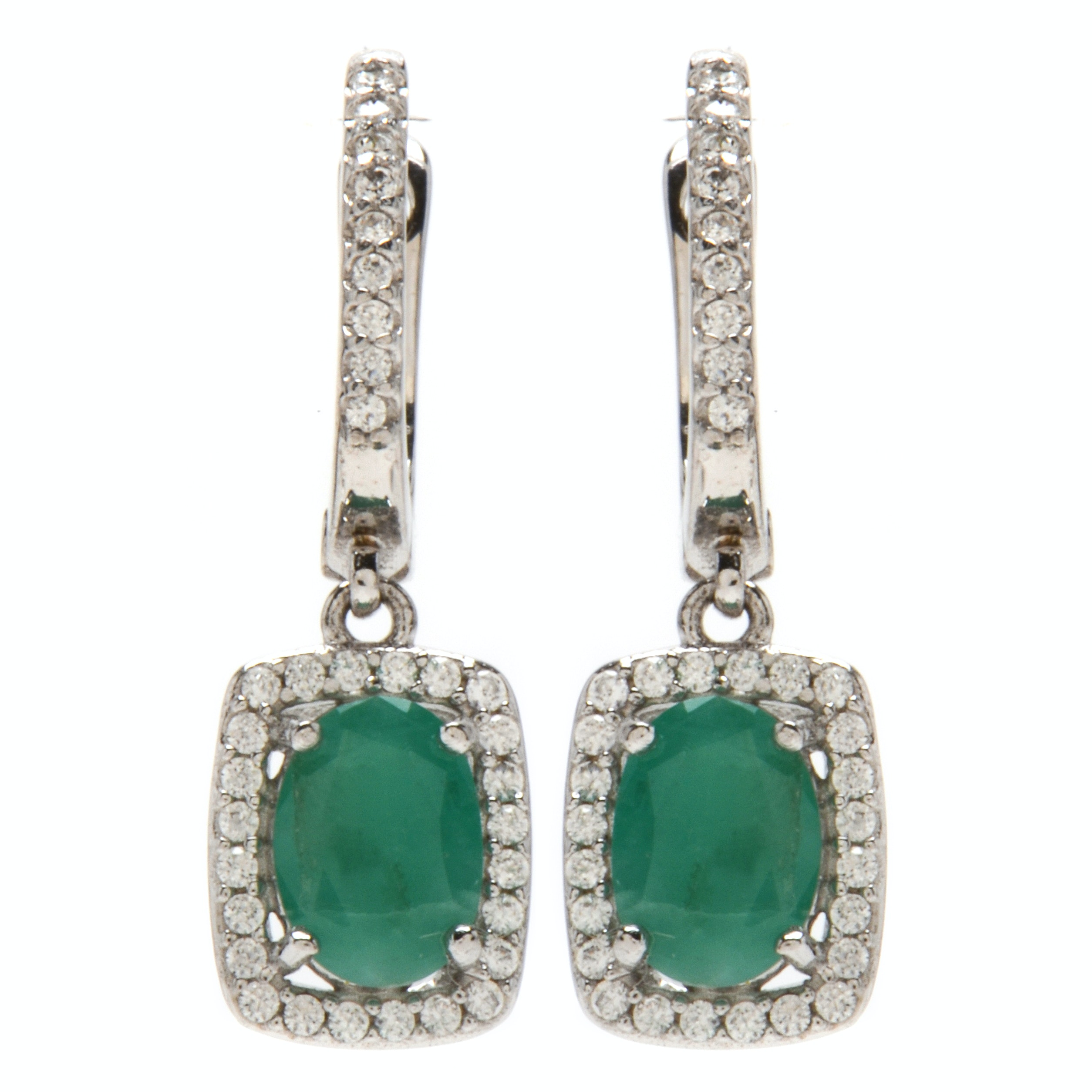 Sterling Silver Emerald Drop Earrings with CZ's