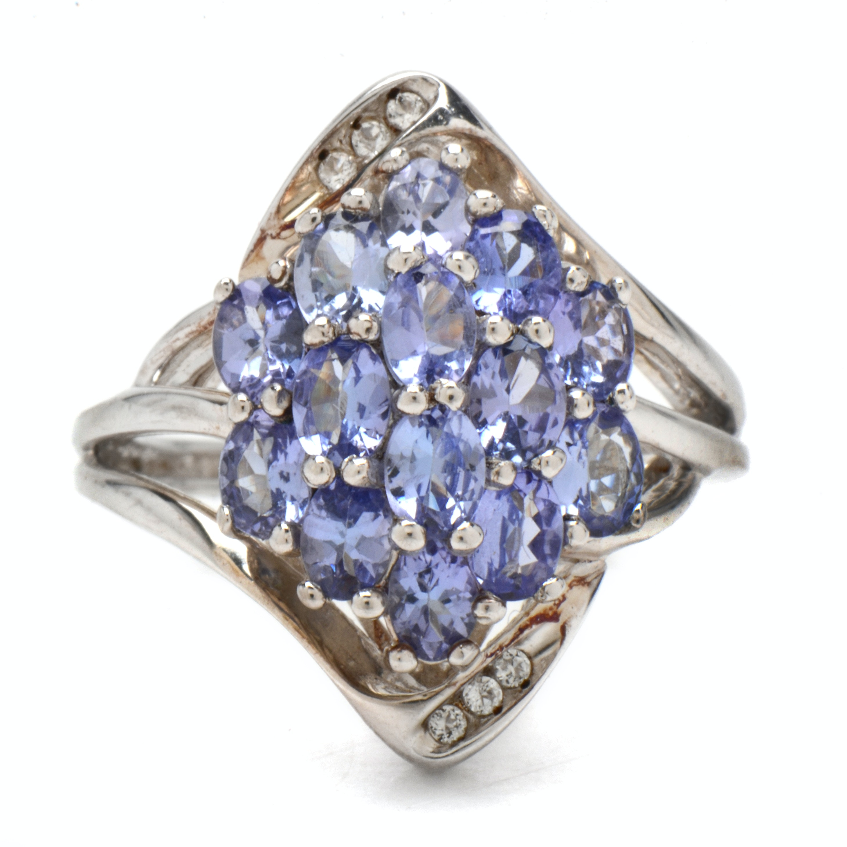 Sterling Silver and Tanzanite Cluster Cocktail Ring