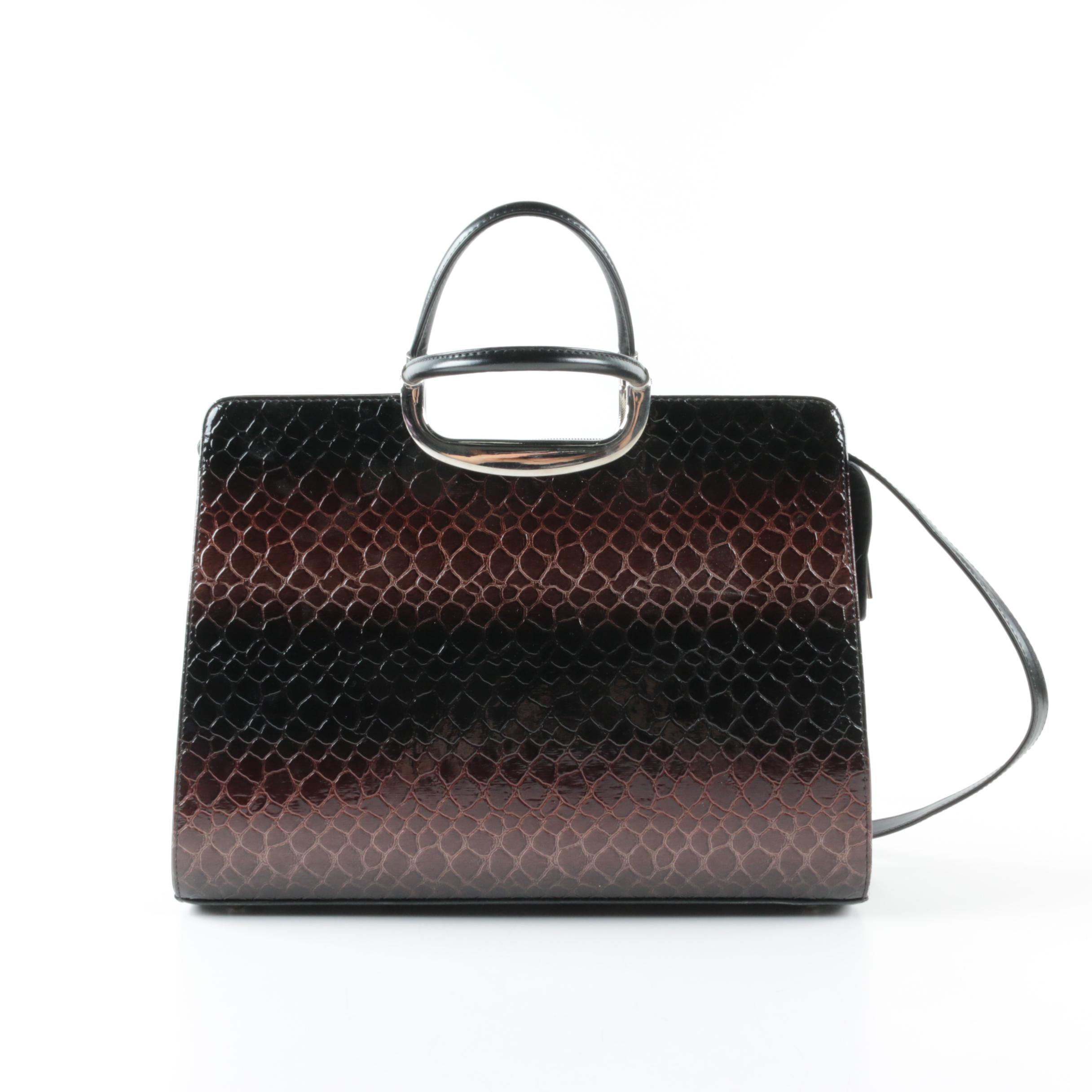 Brown and Black Ombré Embossed Leather Handbag