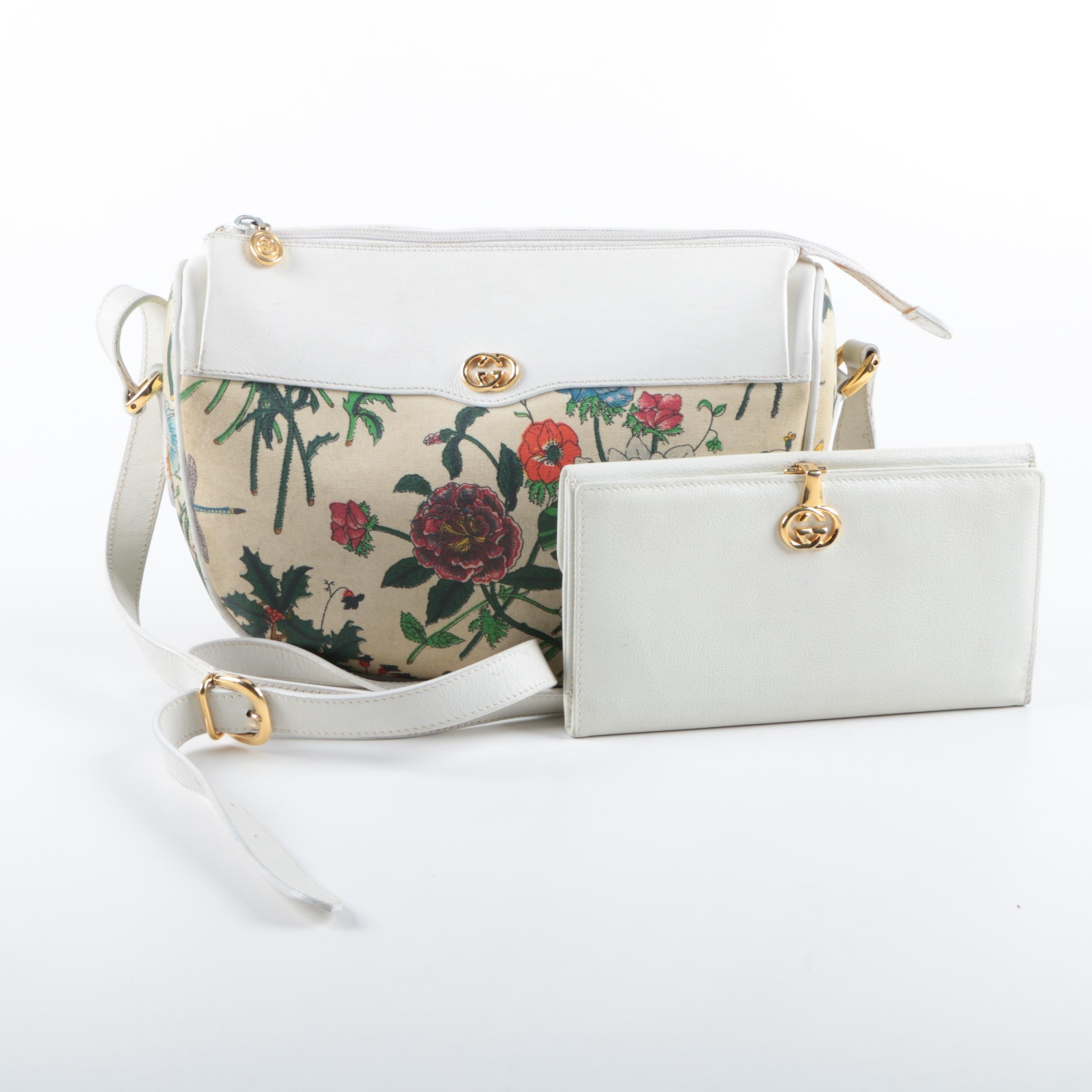 Gucci Floral Canvas and White Leather Shoulder Bag