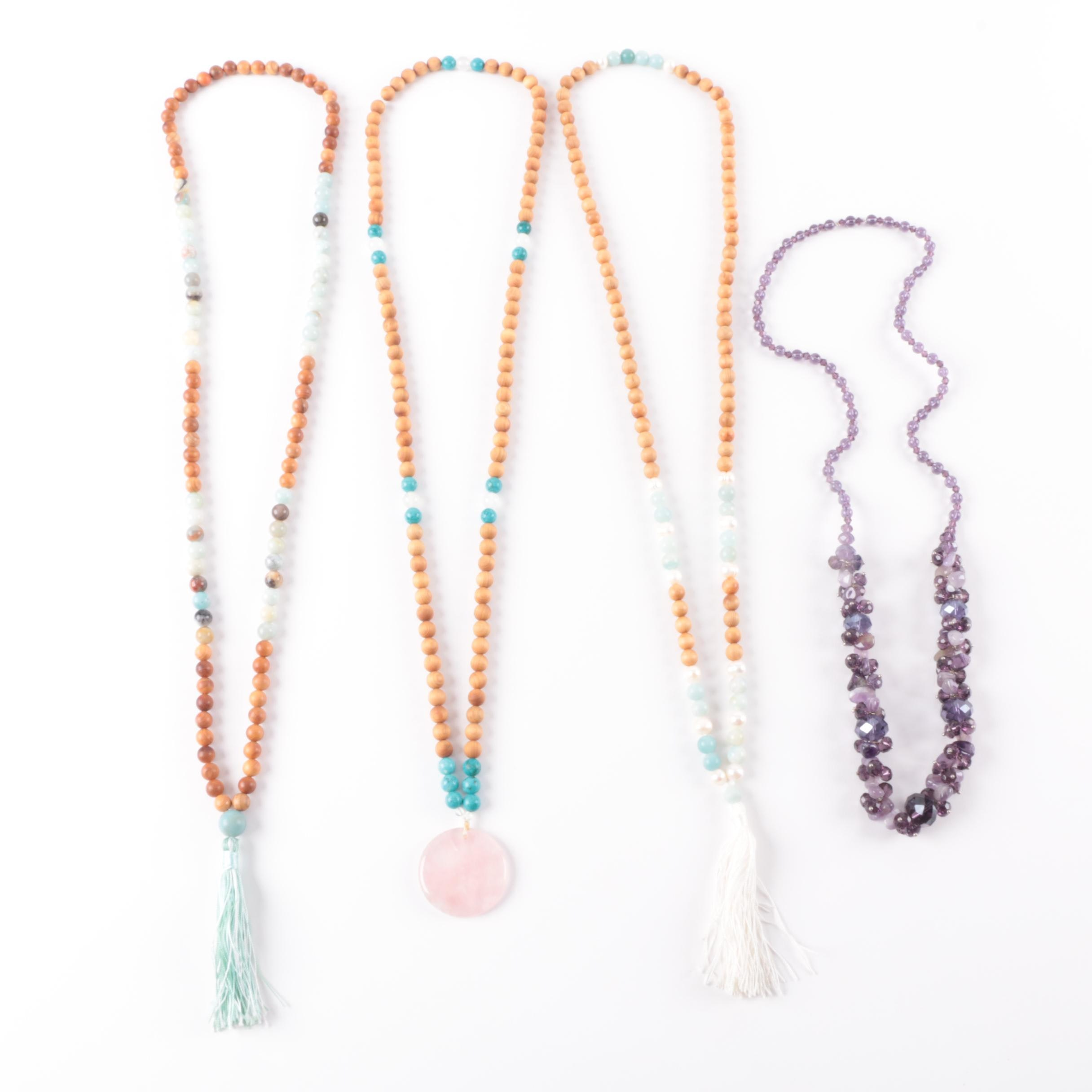 Selection of Beaded Necklaces Including Quartz and Aquamarine