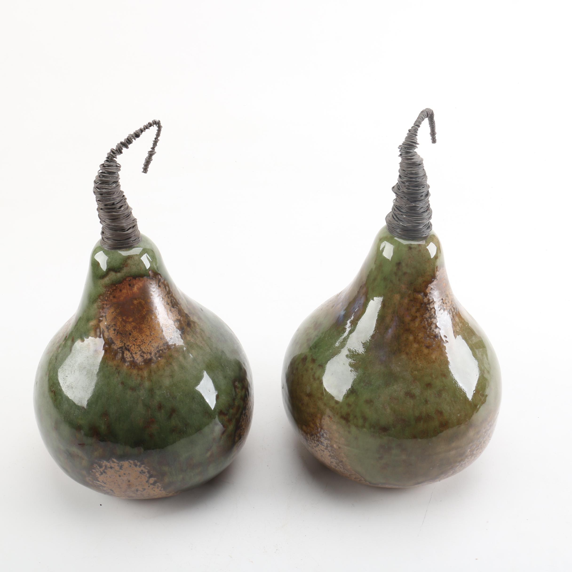 Set of Handbuilt Glazed Ceramic Pears