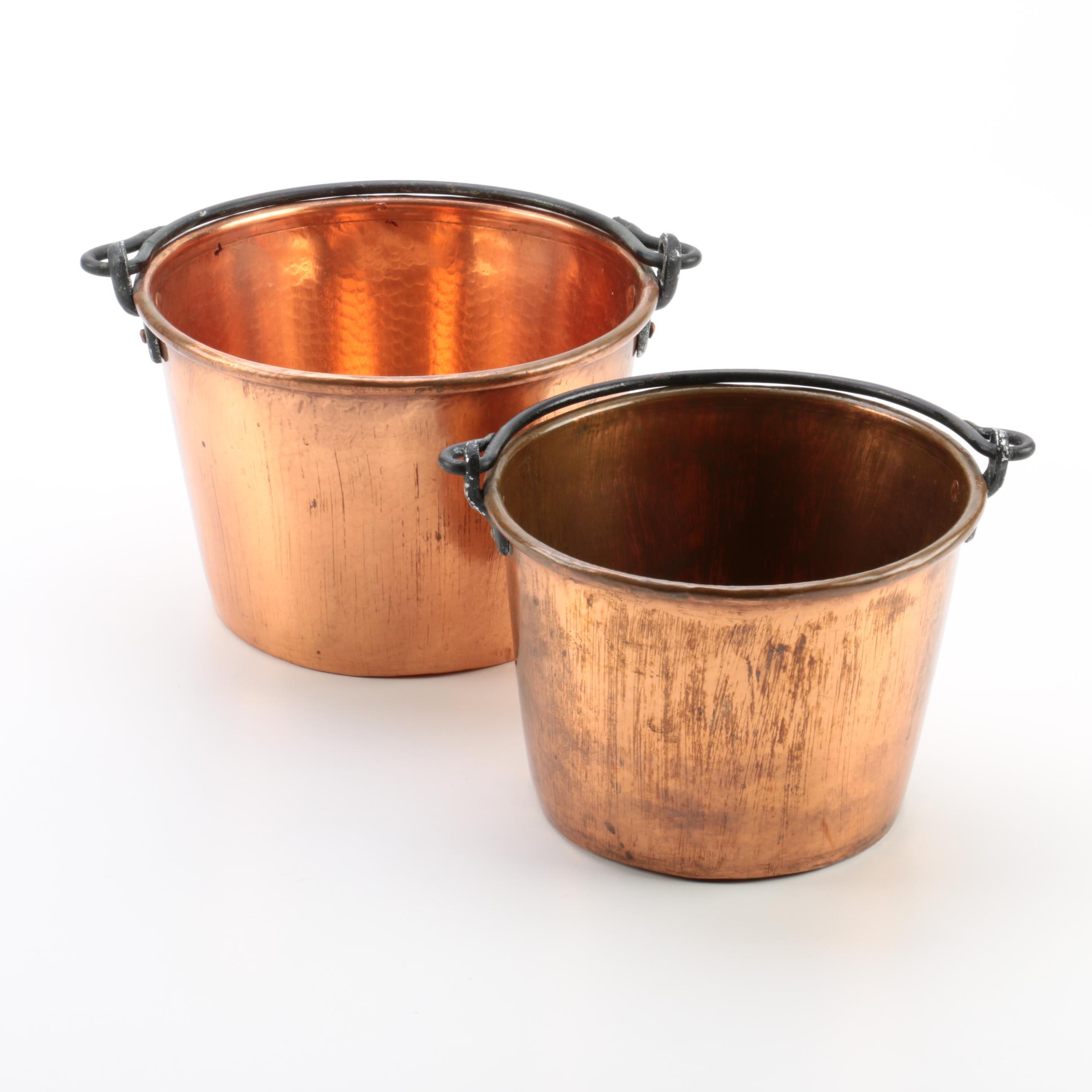 D. Picking & Co. Handmade Signed Copper Apple Butter Kettles