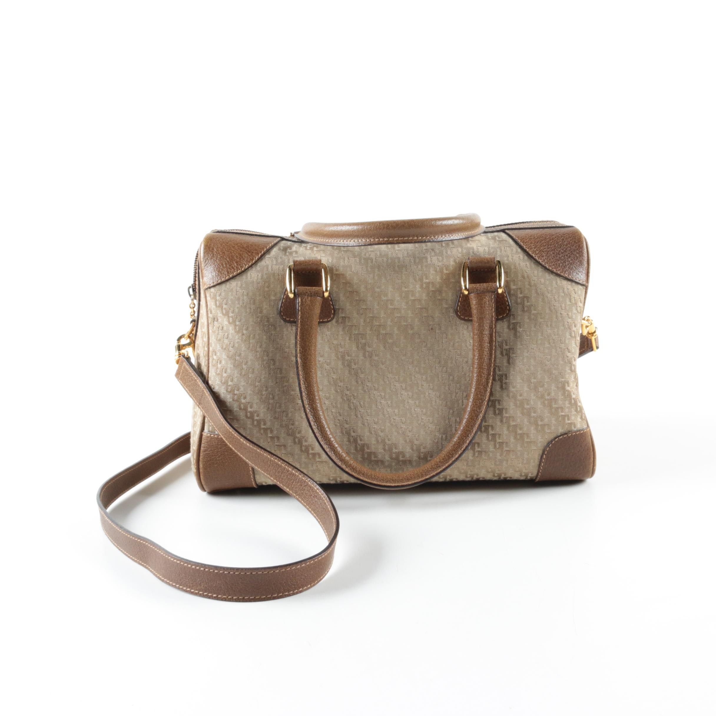 Gucci Taupe Canvas and Leather Handbag