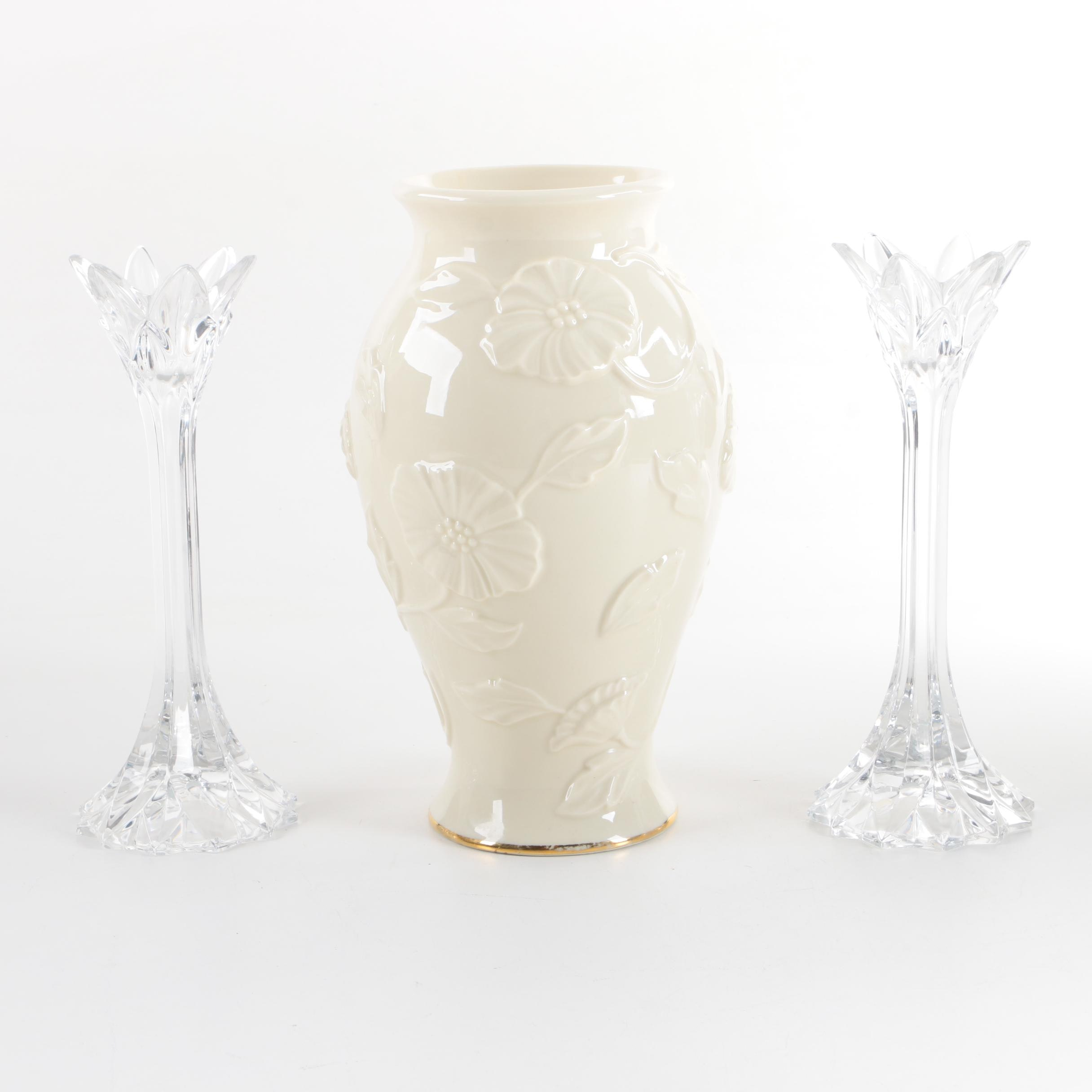Lenox Crystal Candle Holders and Porcelain Vase