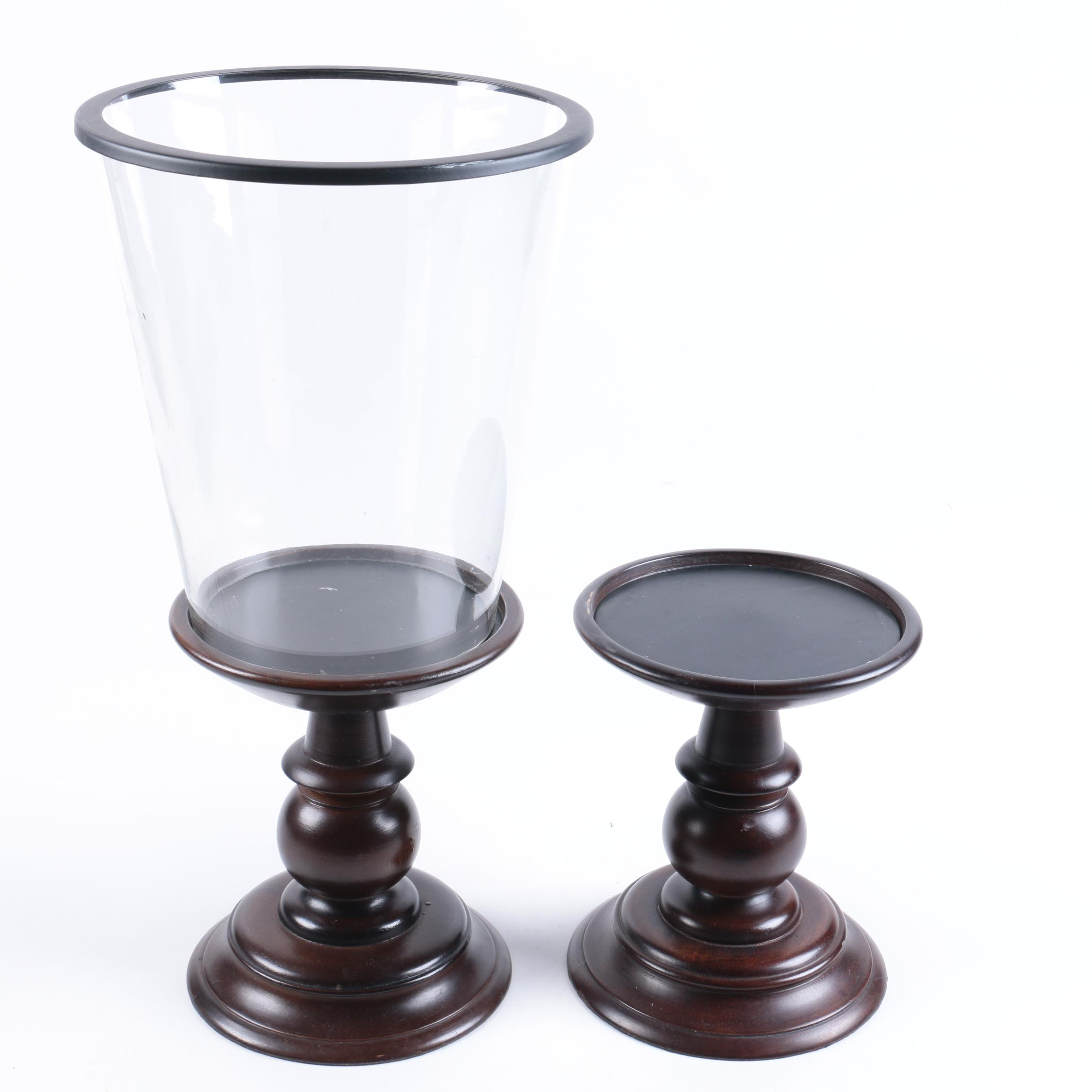 Wood Candle Holders and Glass Candle Cover