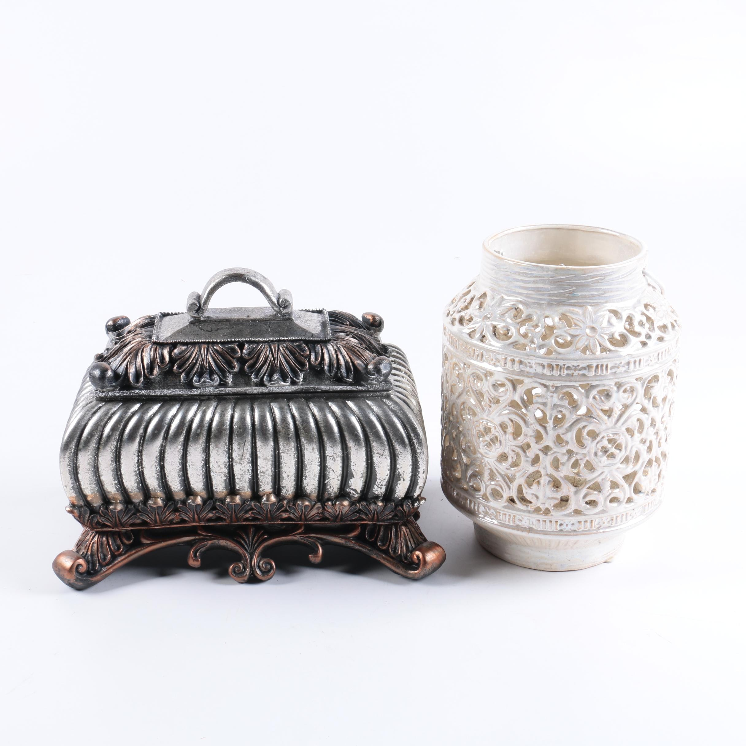 Filigree Ceramic Candle Holder and Ornate Resin Box