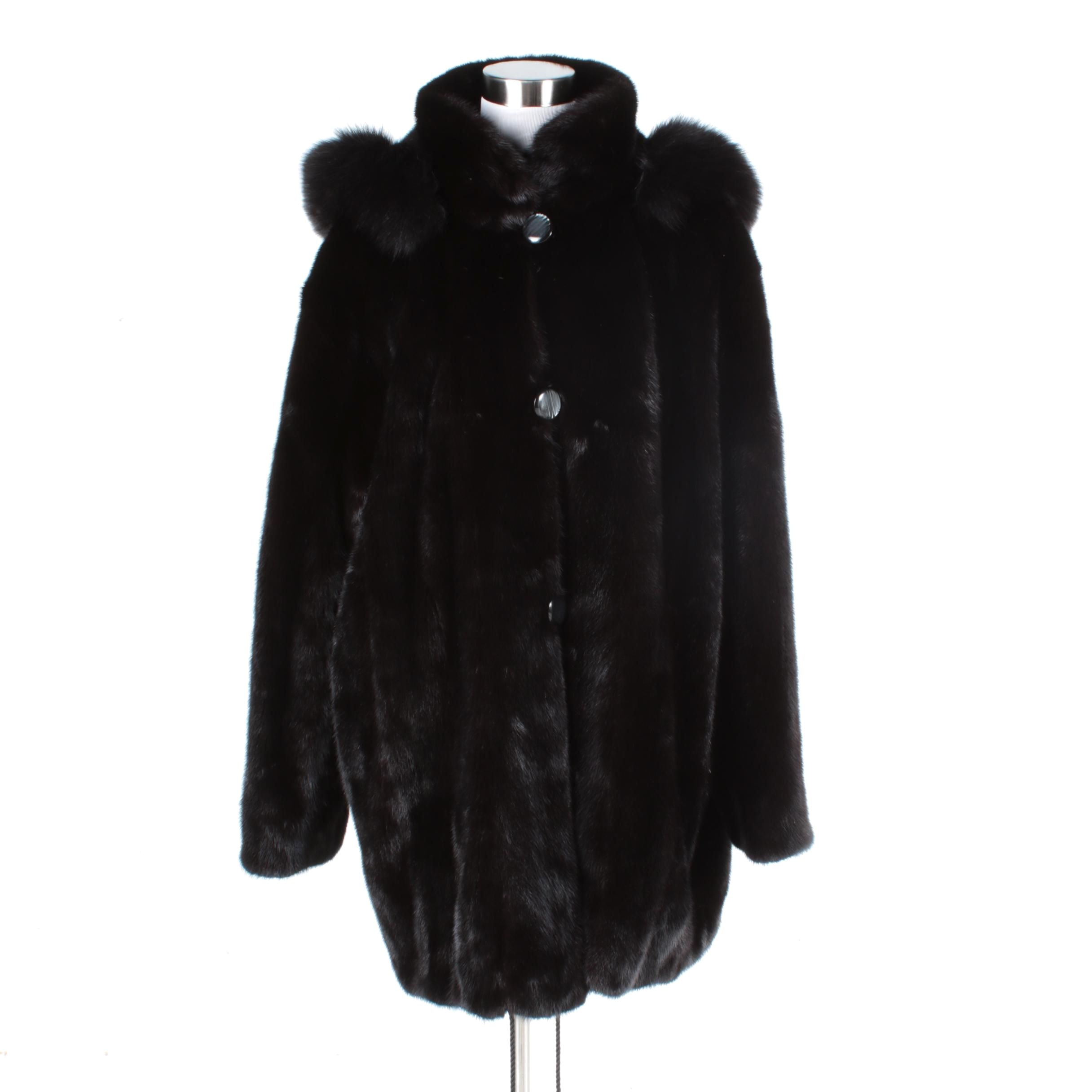 Women's Mink Fur Coat with Black Fox Fur Trim