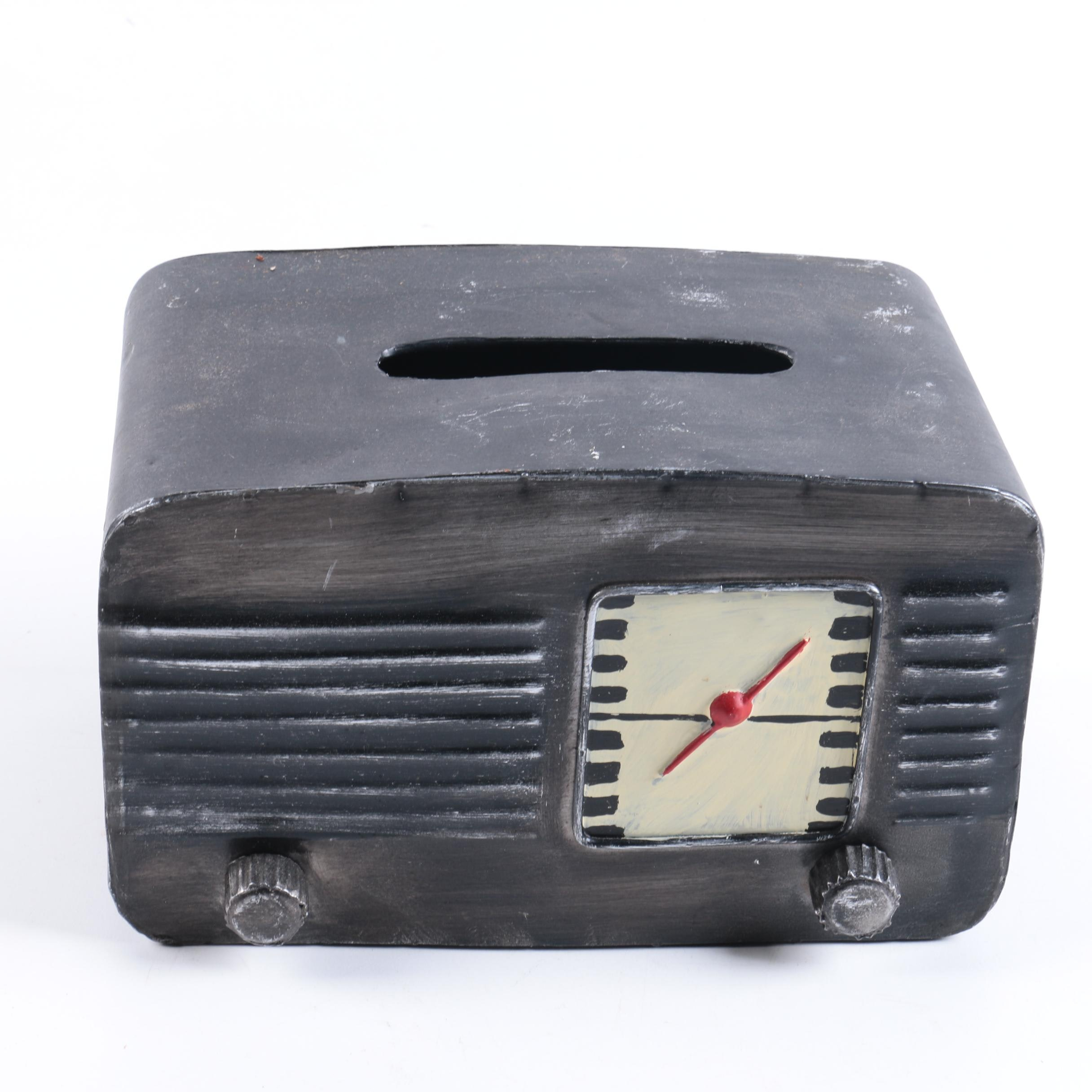 Clock Motif Metal Tissue Box Holder