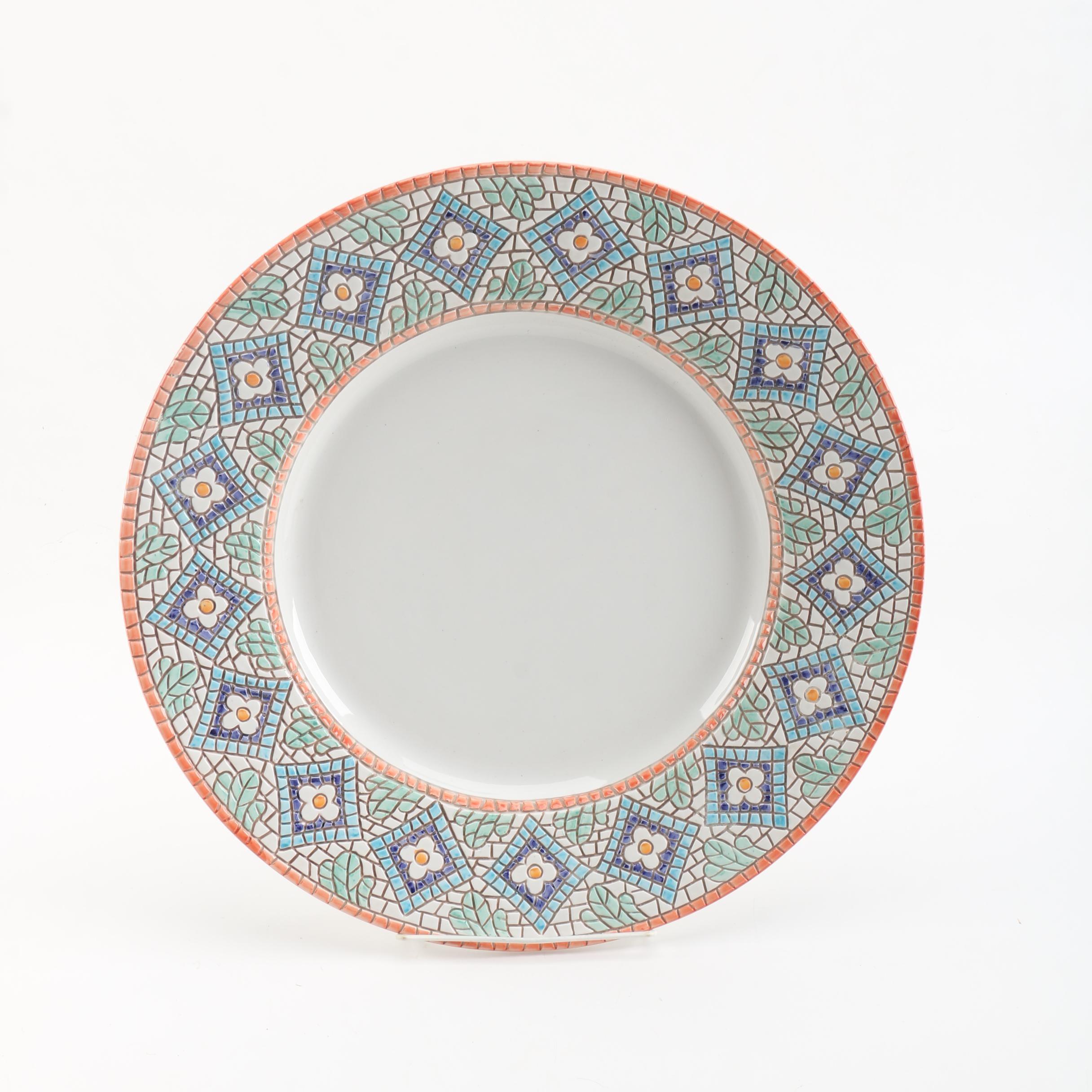 Neiman Marcus Hand-Painted Mosaic Style Ceramic Plate
