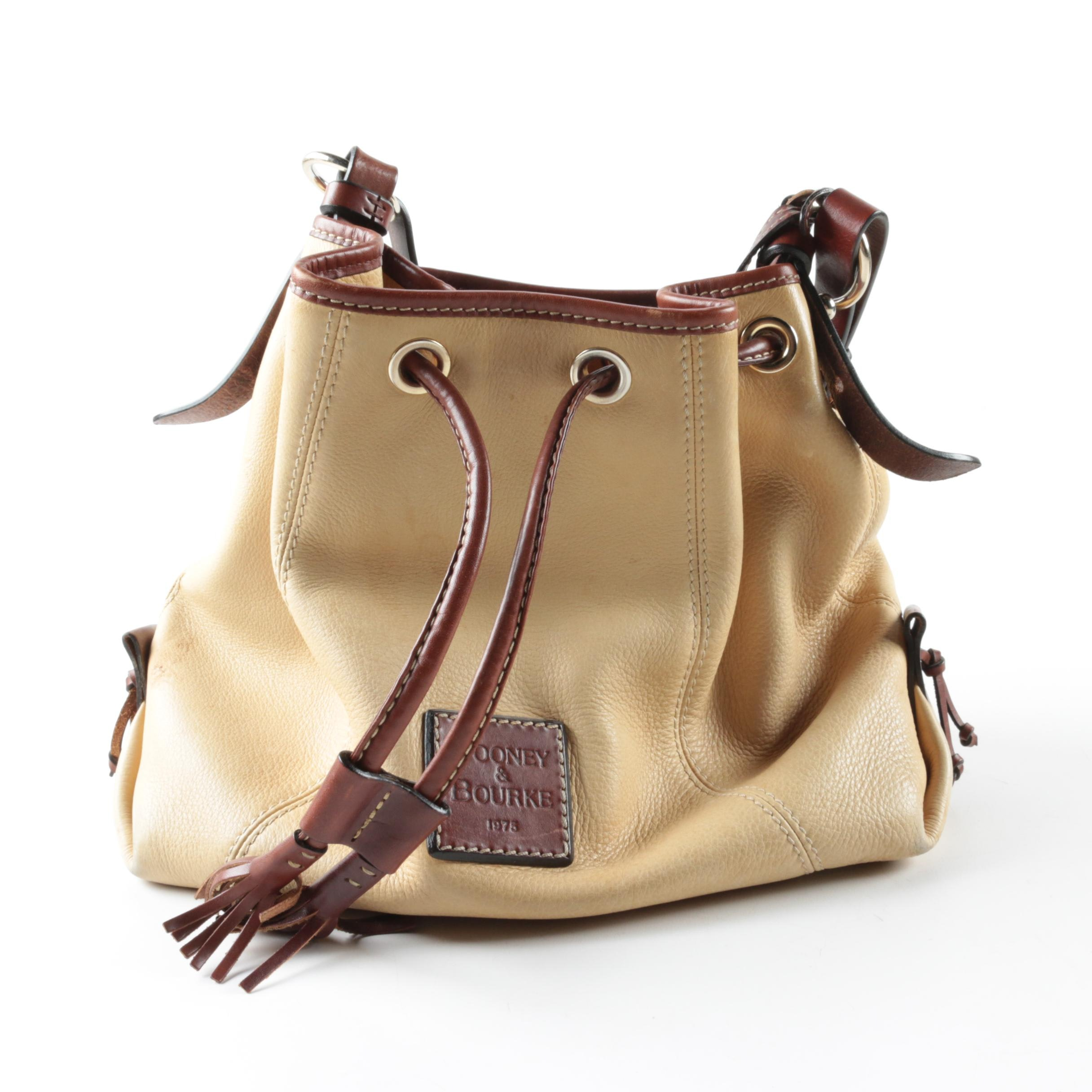 Dooney & Bourke Cream Leather Bucket Bag