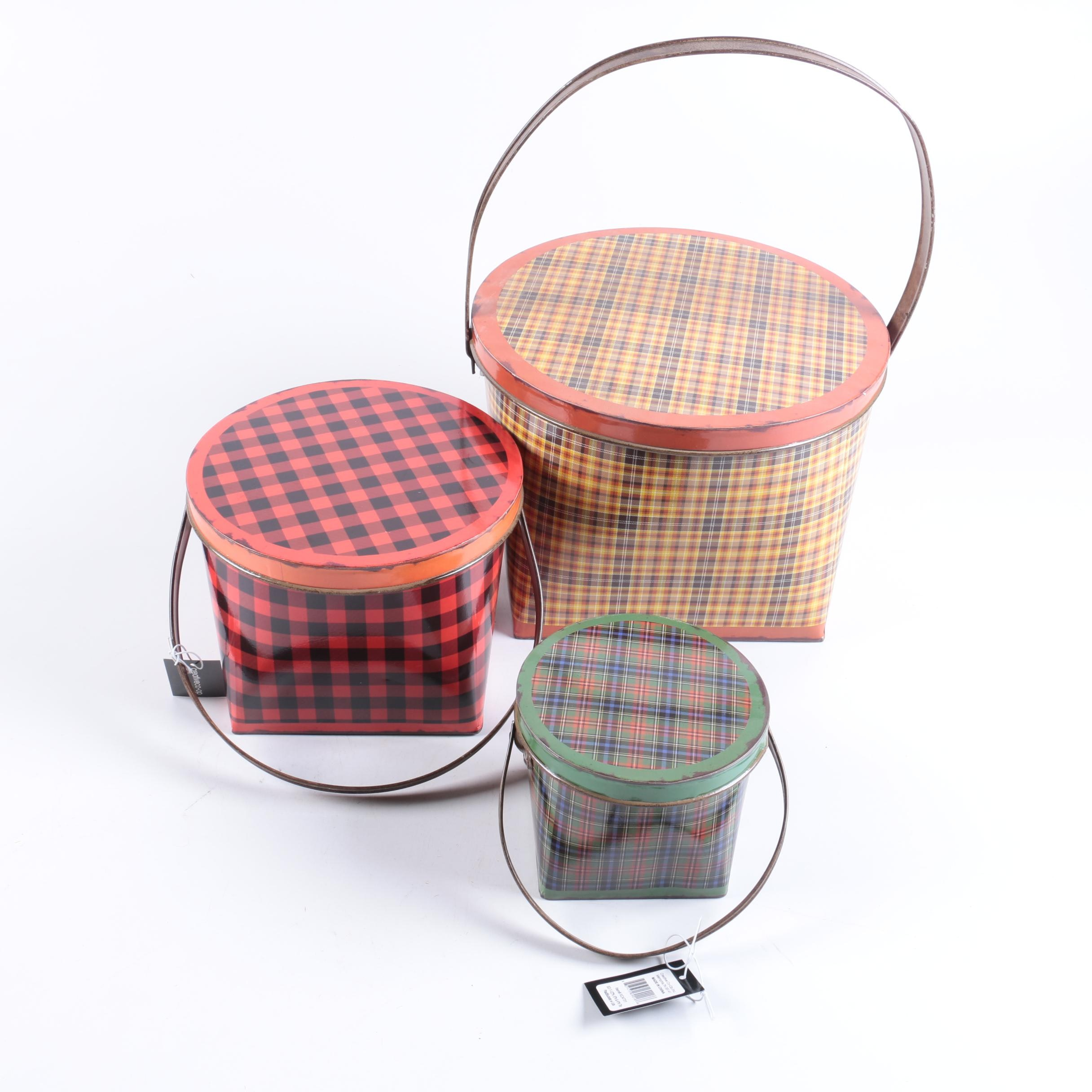 Plaid Motif Nesting Metal Baskets
