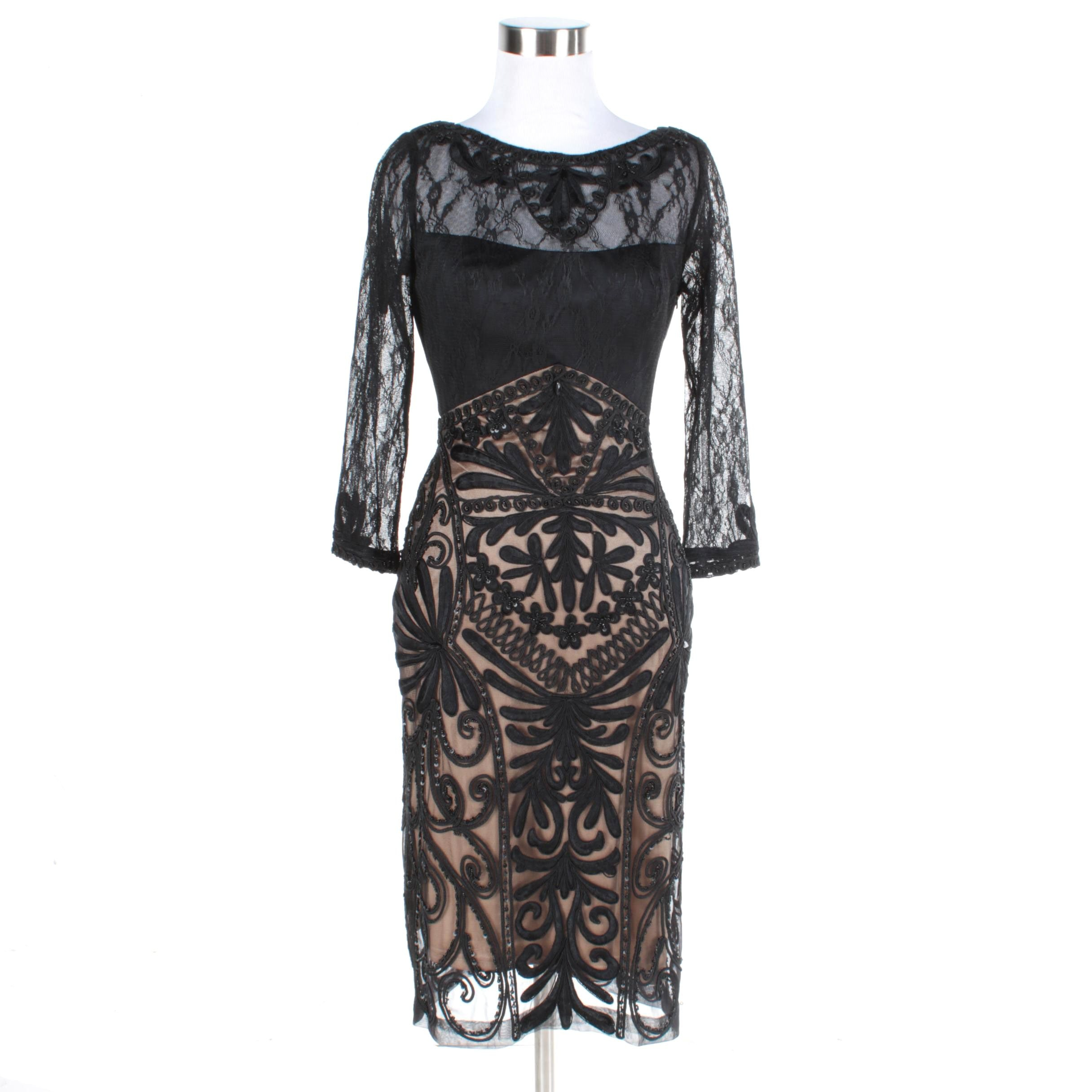 Sue Wong Passementerie Black Lace Evening Dress