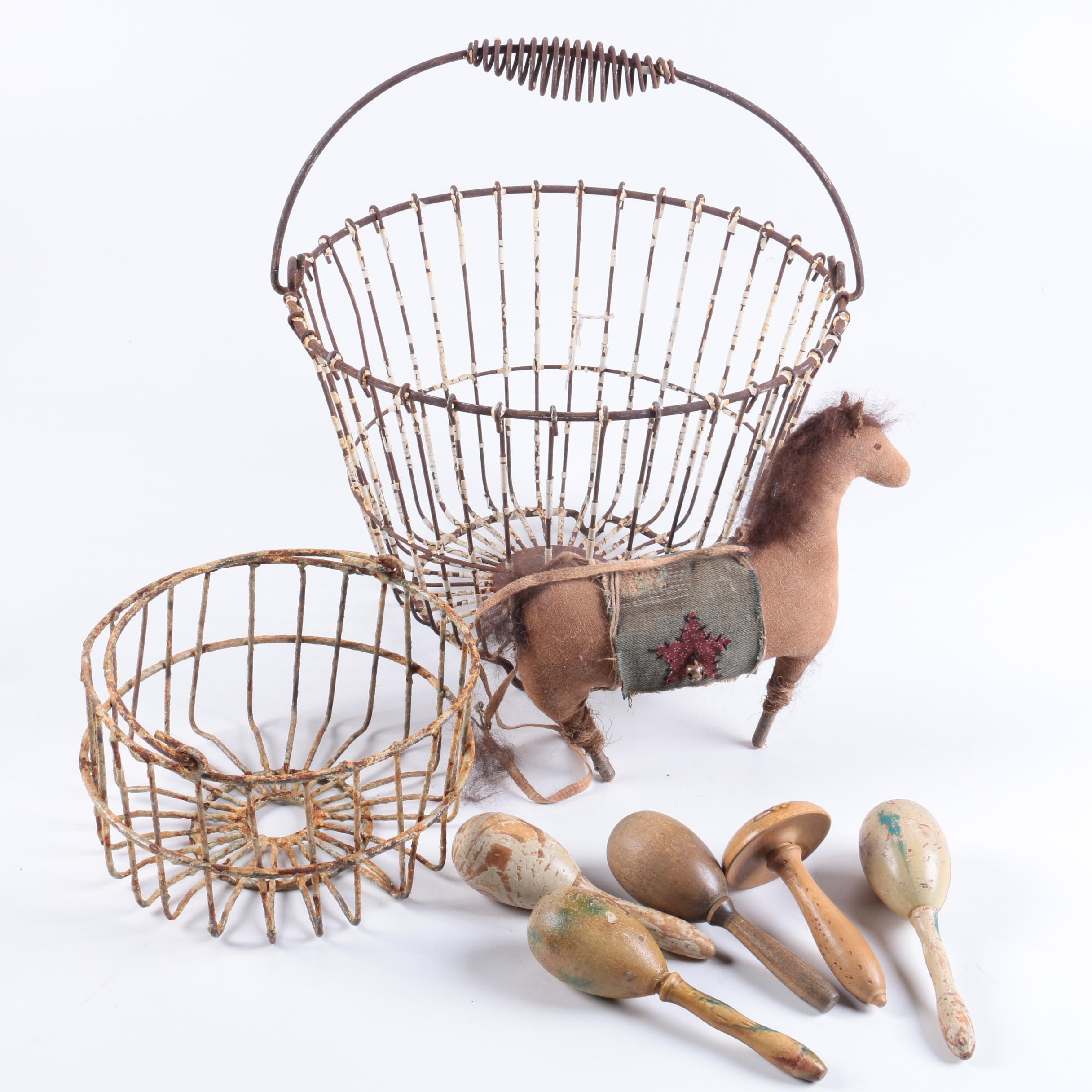 Vintage Handmade Toy Horse, Darning Eggs and Wire Baskets