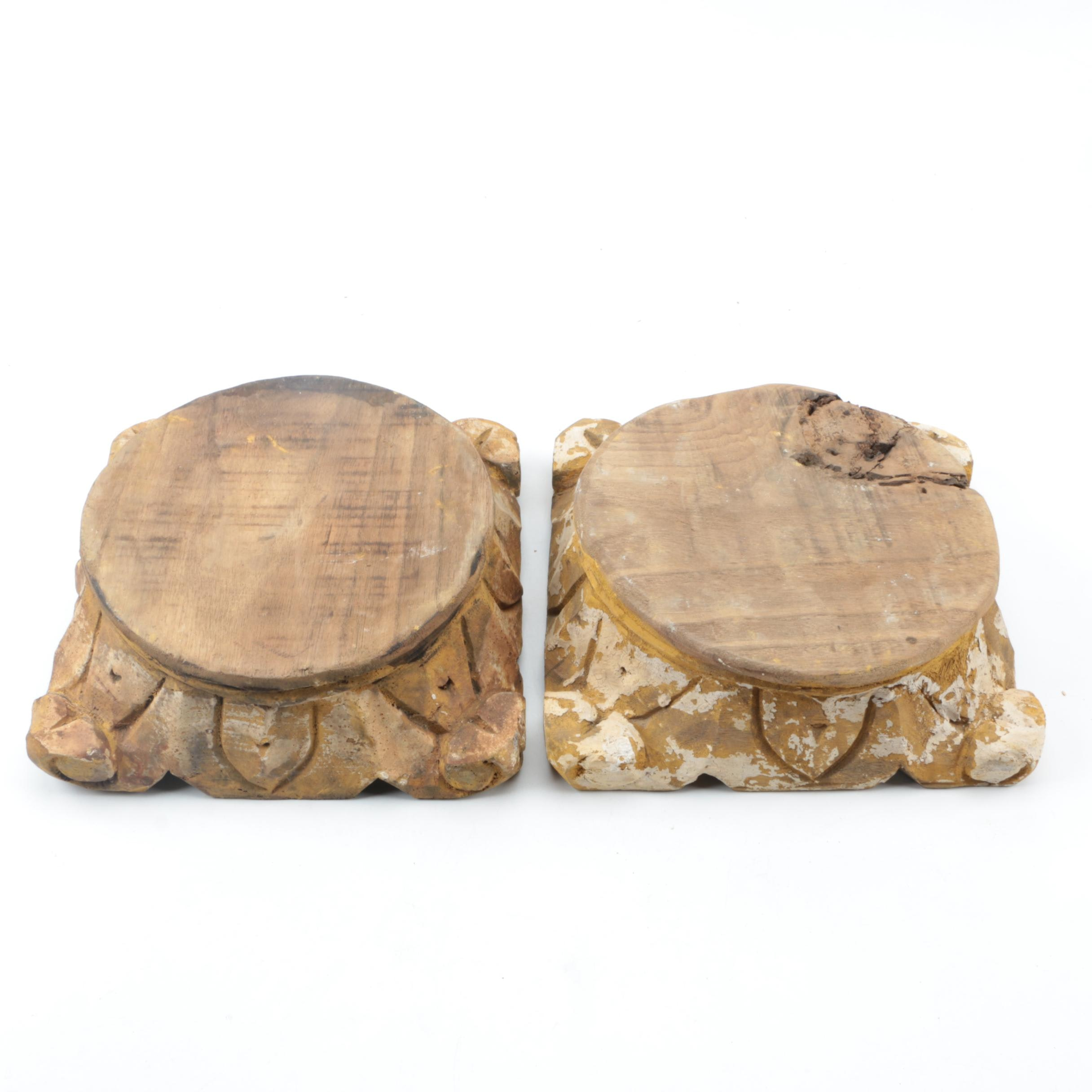 Pair of Carved Tree Stump Stands