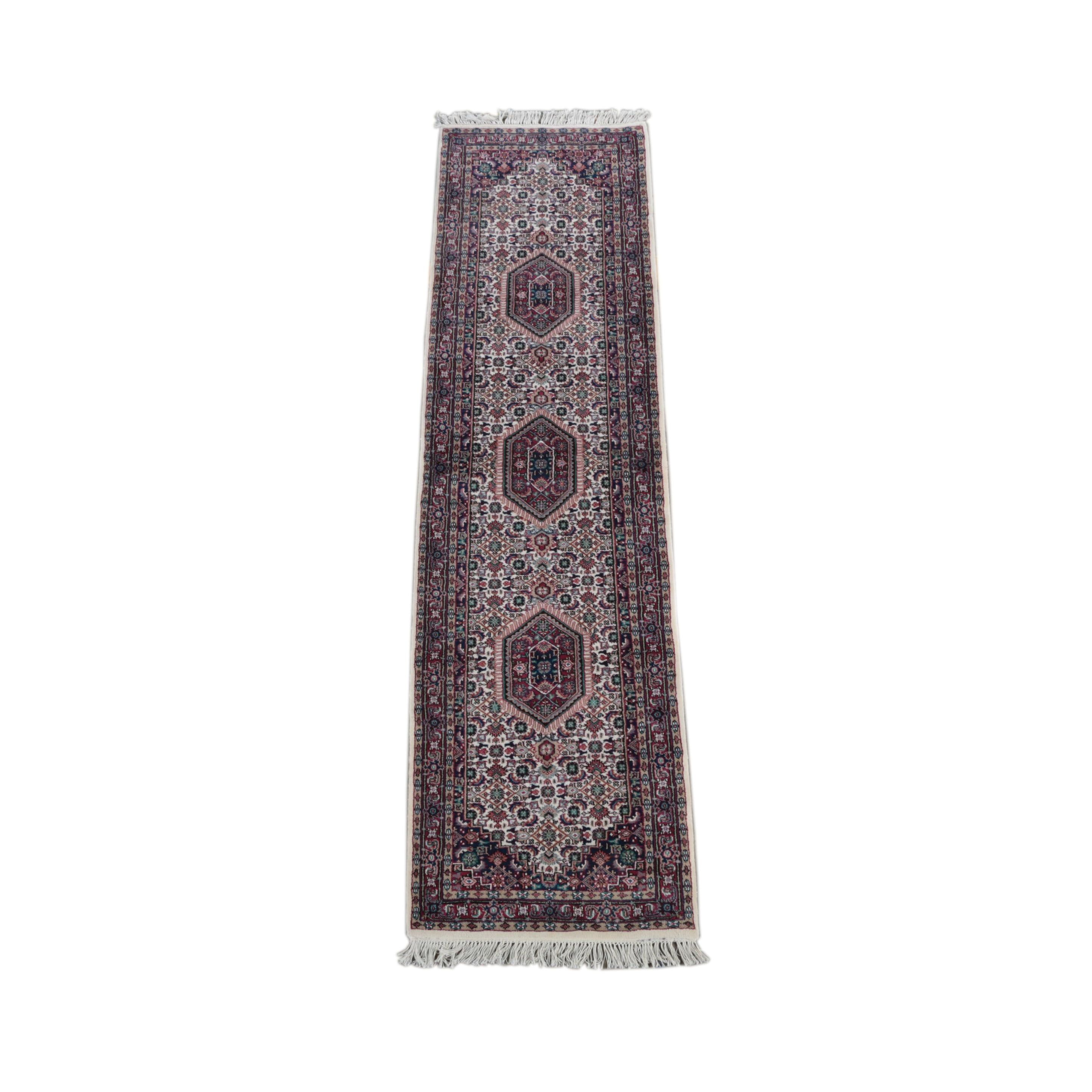 Hand-Knotted Indo-Persian Bijar Carpet Runner
