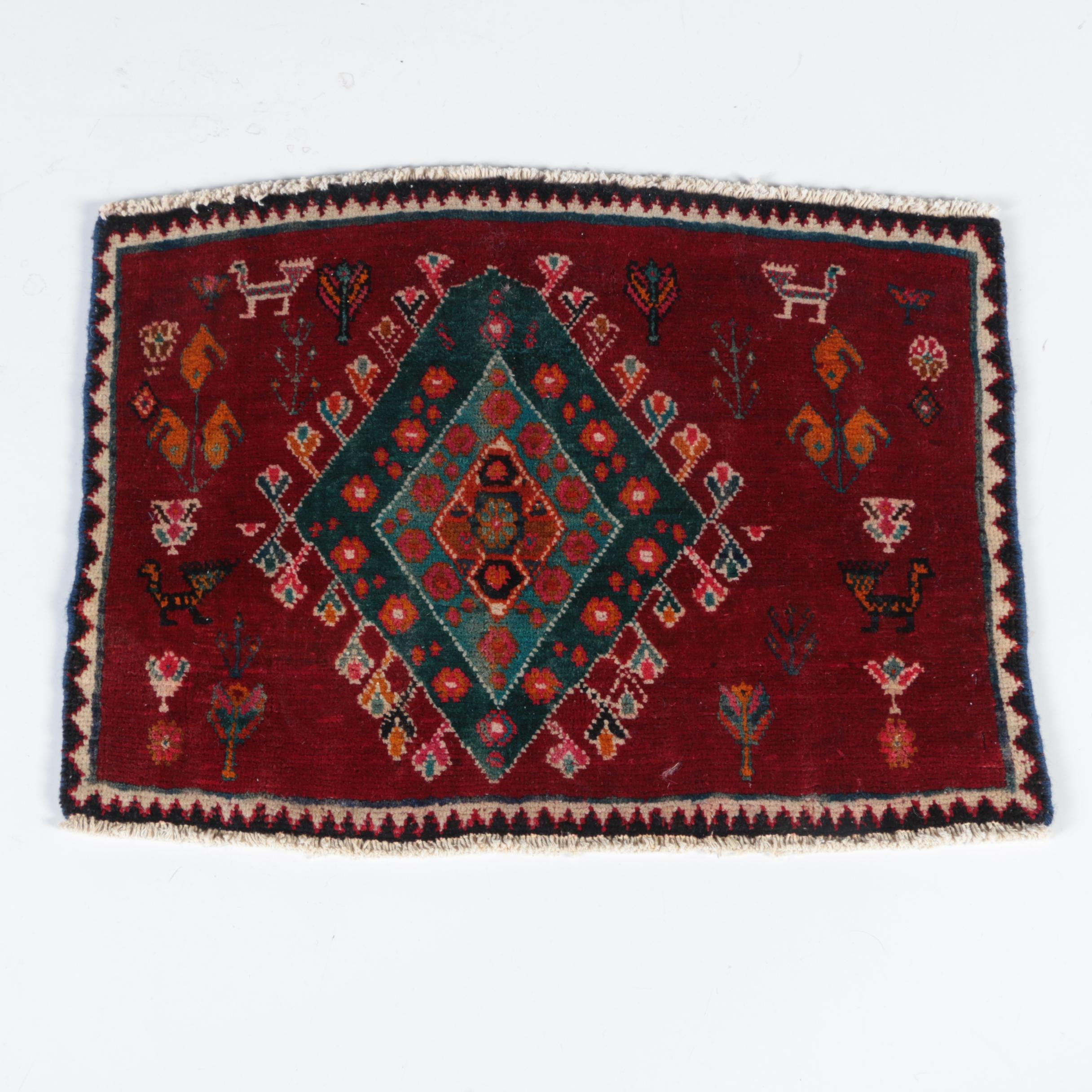 Hand-Knotted Persian Qashqai  Square Rug