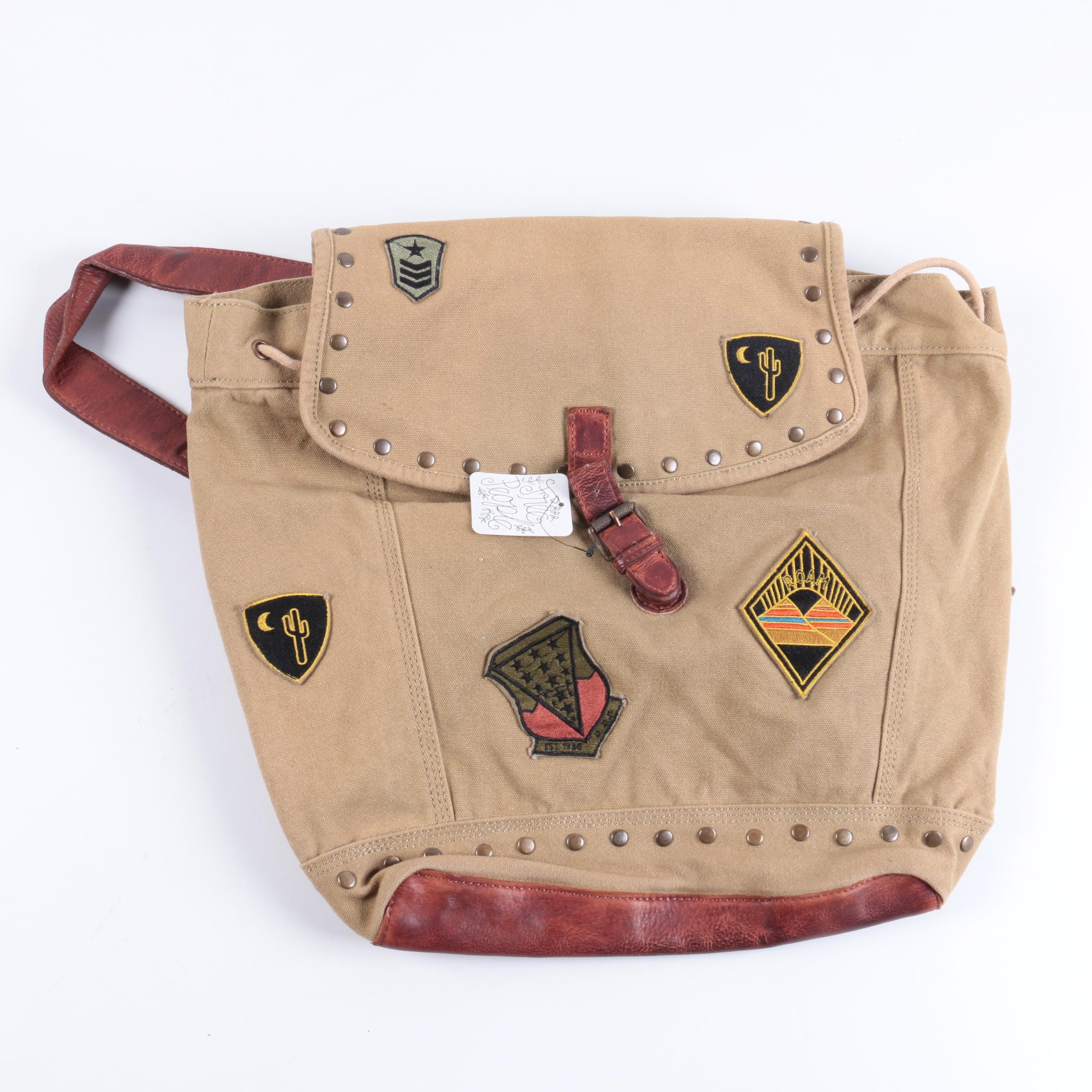 Free People Khaki Canvas Backpack