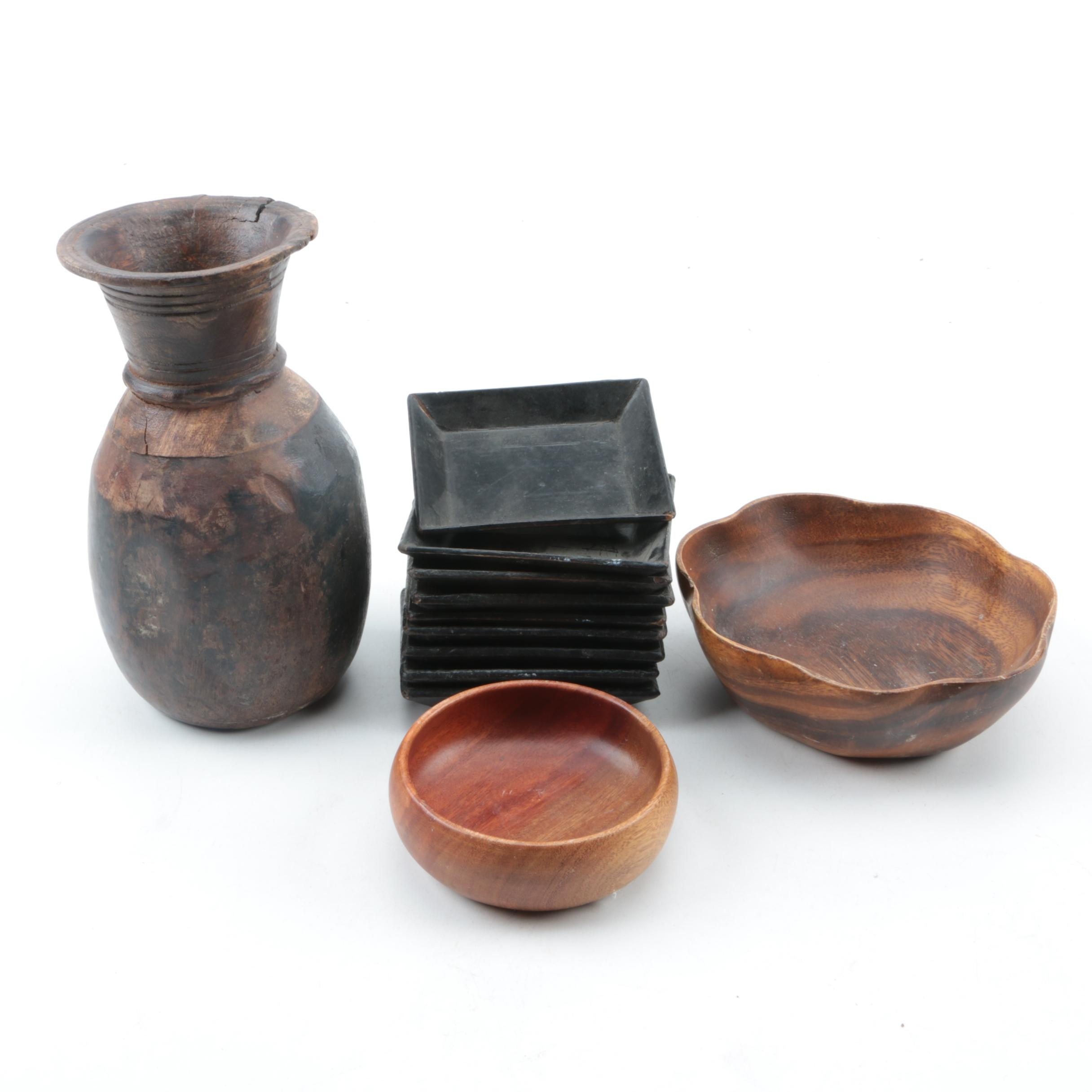 Vintage Carved Wood Bowls, Vase, and Lacquered Trays