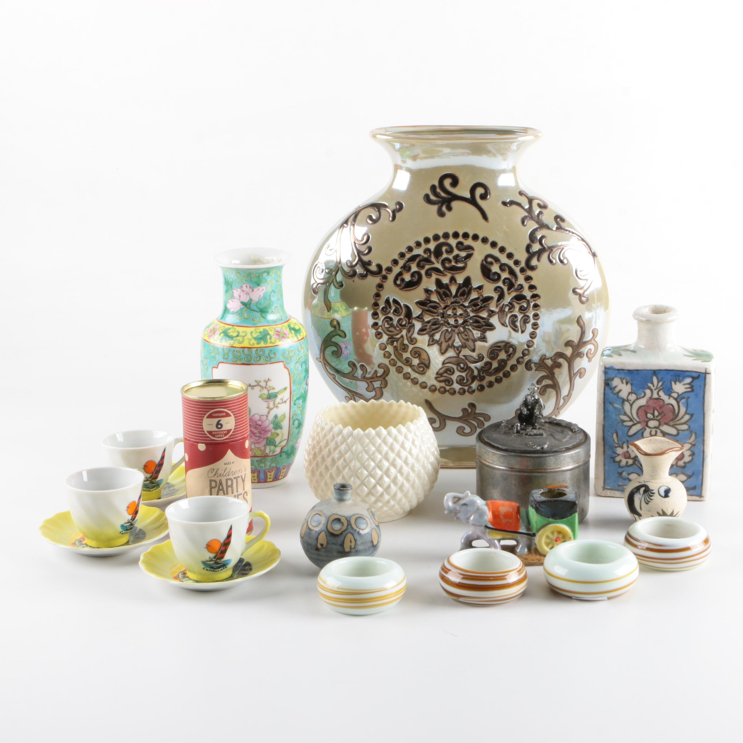 Ceramic, Glass, and Metal Décor, Vases, and Tableware