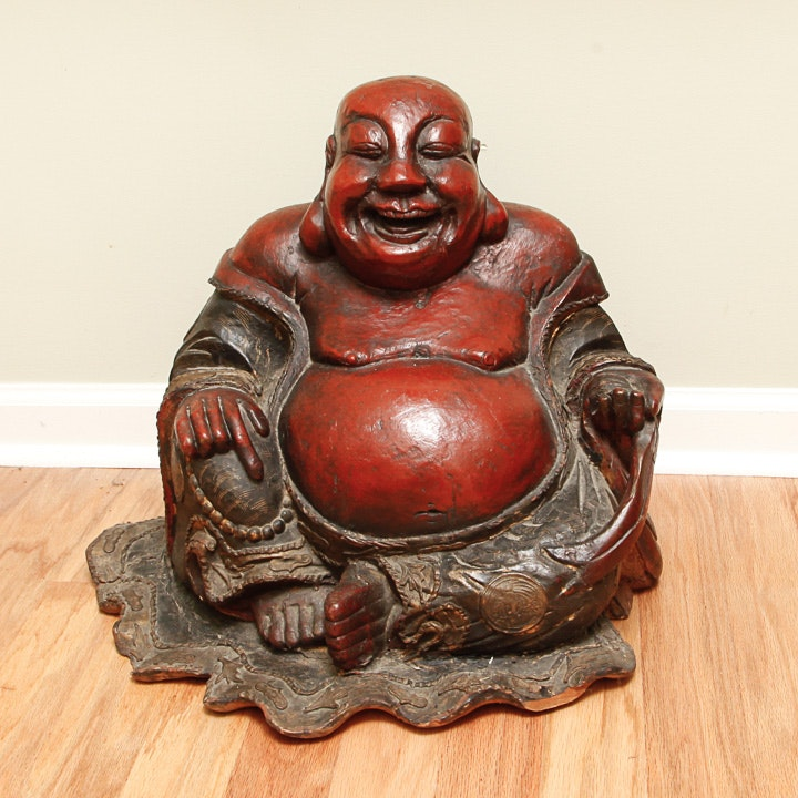 Red Resin Laughing Budai Statue