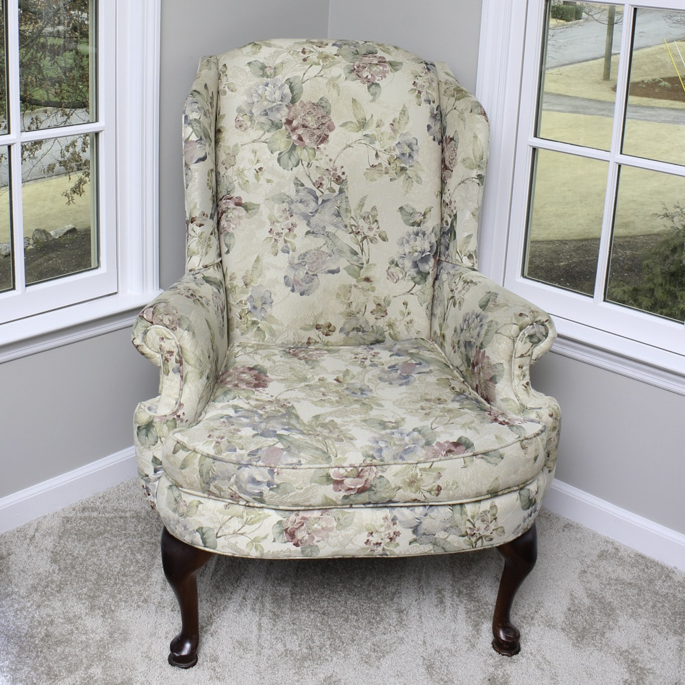 Queen Anne Style Wingback Armchair By Broyhill ...