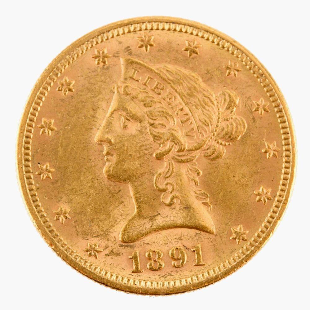 1891 Liberty Head $10 Gold Eagle