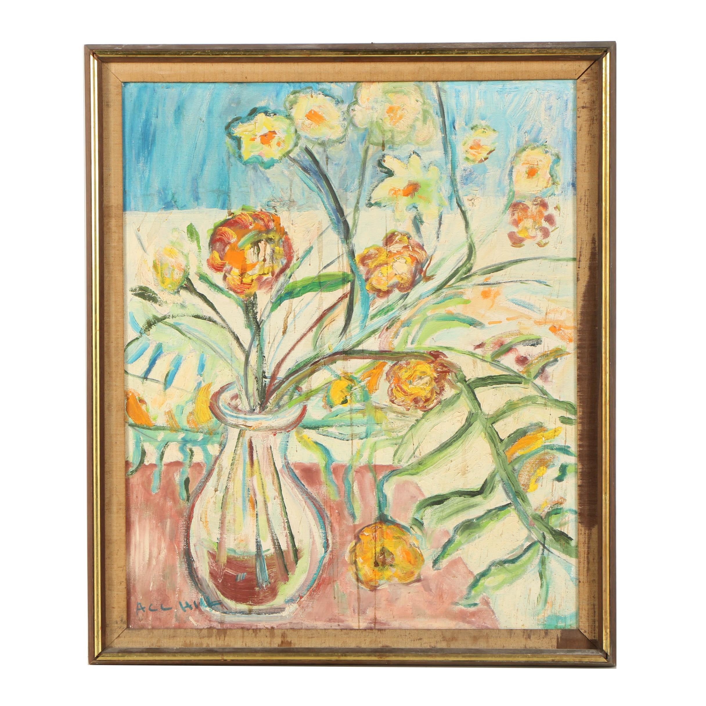 "Arthur C.C. Hill Mid-Century Still Life Oil Painting ""Flowers"""