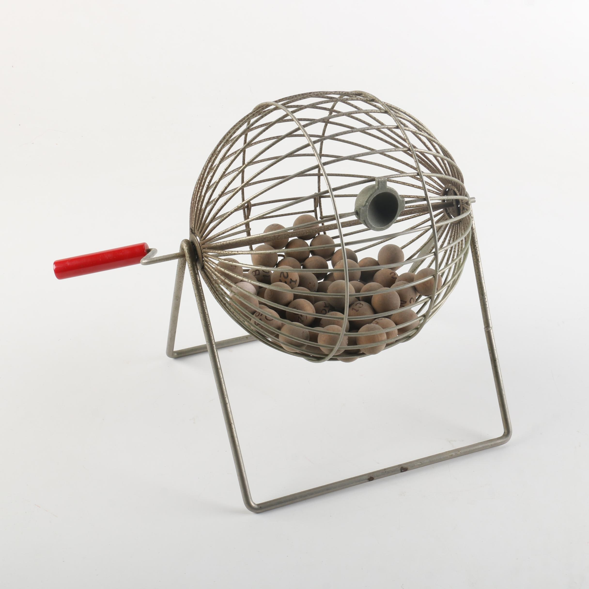 Vintage Bingo Cage With Wooden Balls