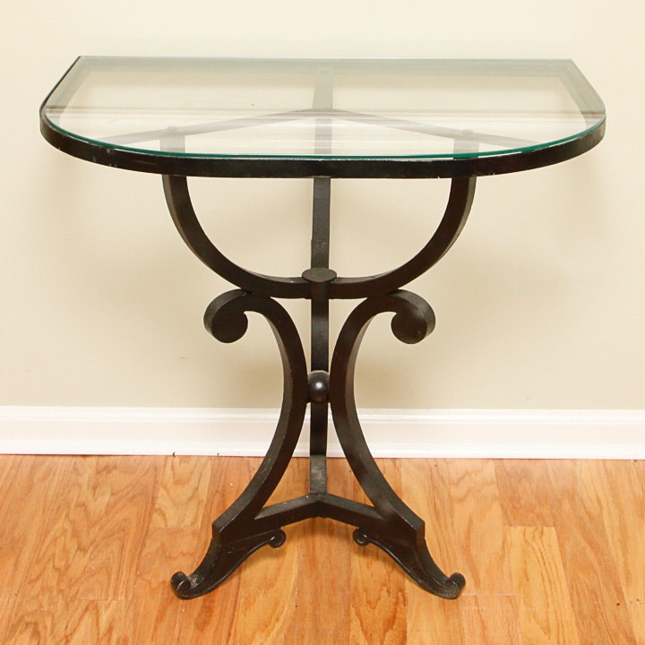 Scrolled Iron Table with Glass D-Shaped Top