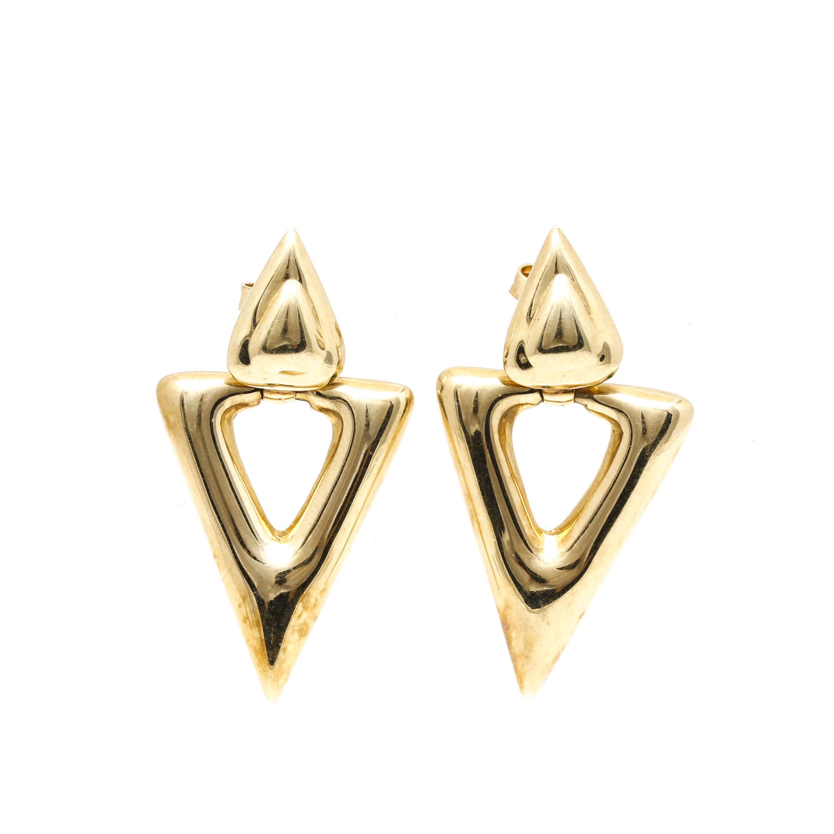 14K Yellow Gold Post Back Dangling Earrings