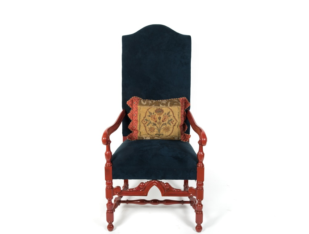 Contemporary William and Mary Style Upholstered Armchair