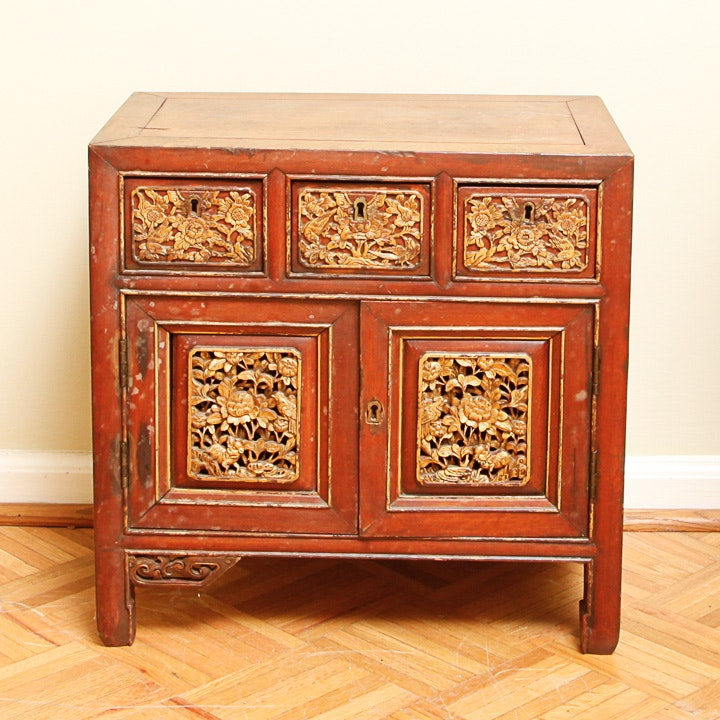 Vintage Carved Gilt-Wood Asian Cabinet