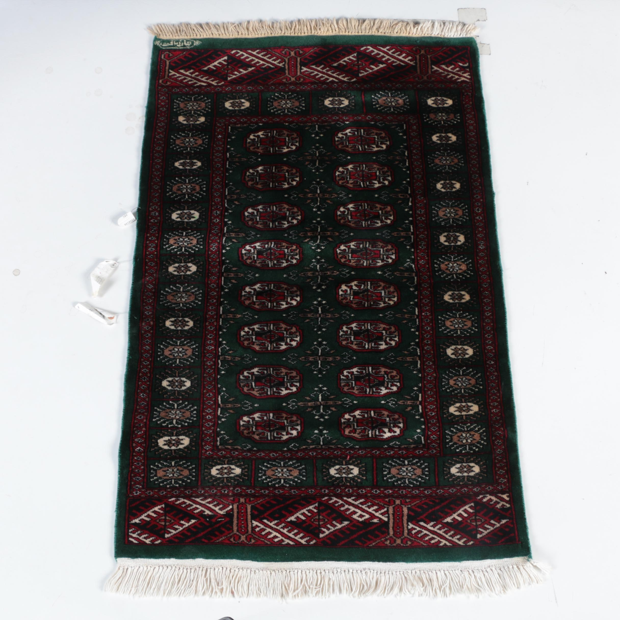 Hand-Knotted Signed Pakistani Bokhara Wool Accent Rug