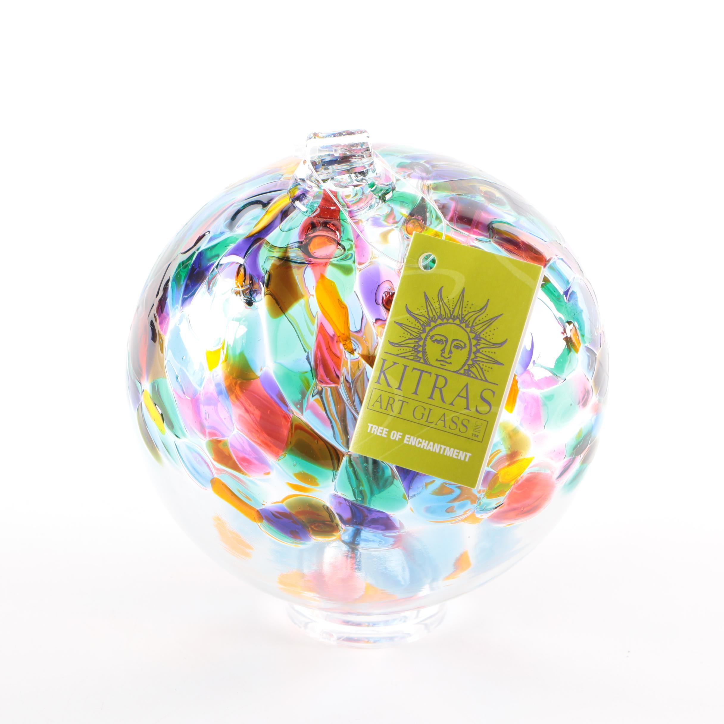 "Stephen Kitras ""Tree of Friendship"" Art Glass Bauble"