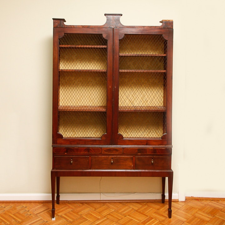 Antique Regency Bookcase-on-Stand
