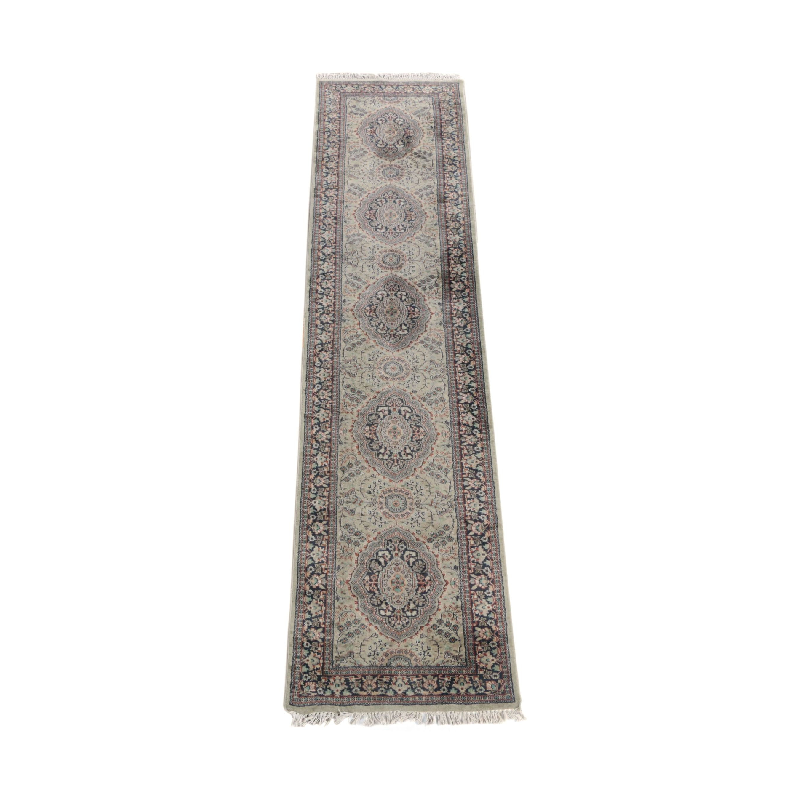 Hand-Knotted Indo-Persian Wool Carpet Runner