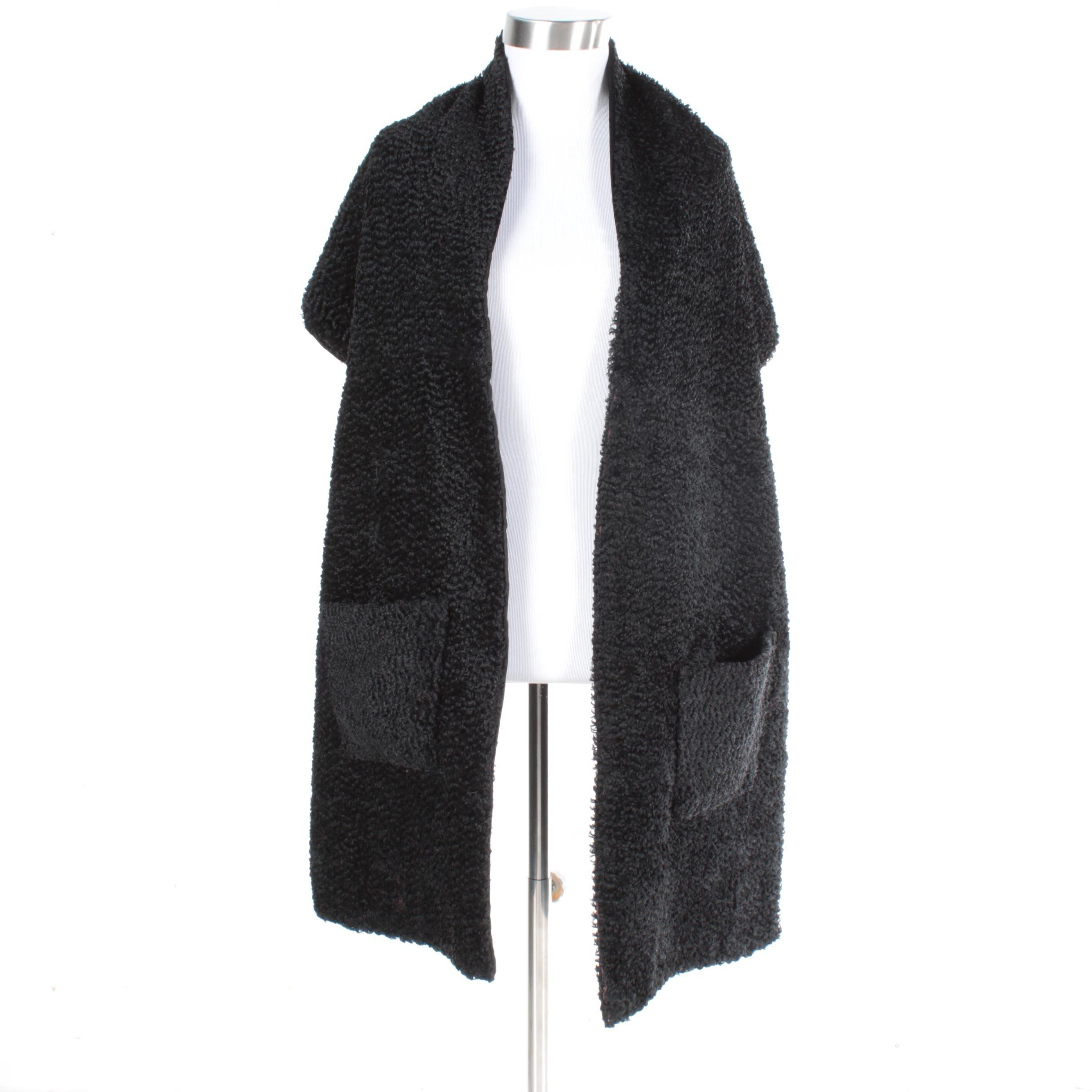 Women's Black Faux Lamb Fur Stole