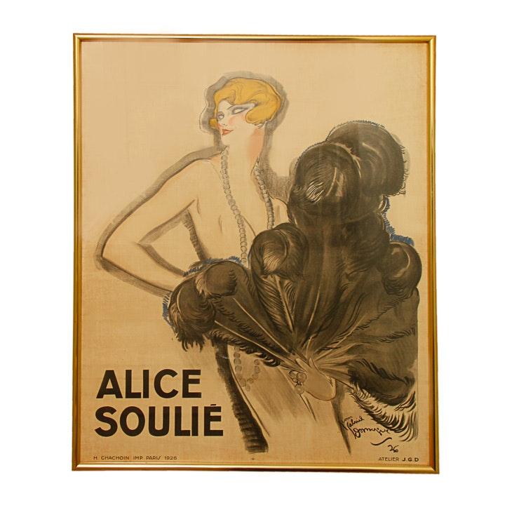 """Color Lithograph Print After Jean-Gabriel Domergue """"Alice Soulie"""""""