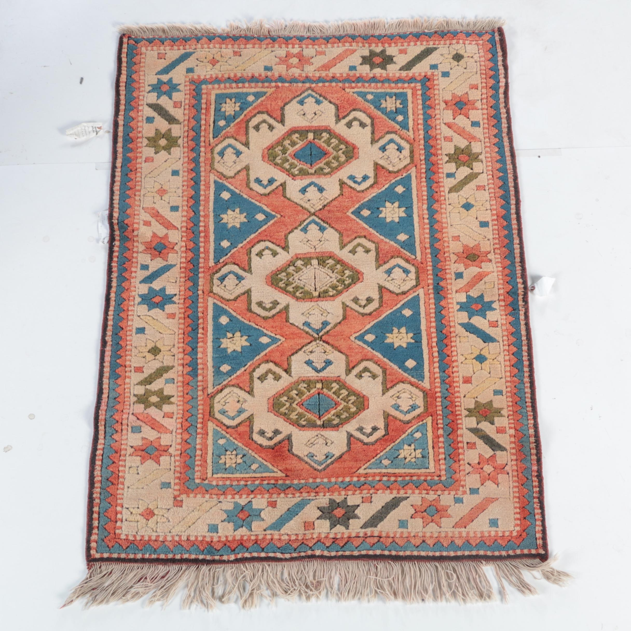 Hand-Knotted and Carved Erivan Turkish Area Rug