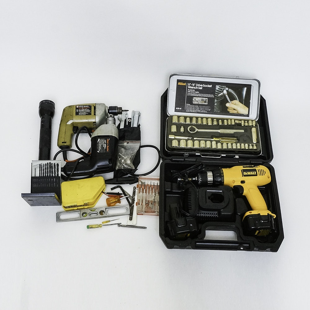 Collection of Tools Including Allied, Black & Decker, DeWalt and Mag-Lite