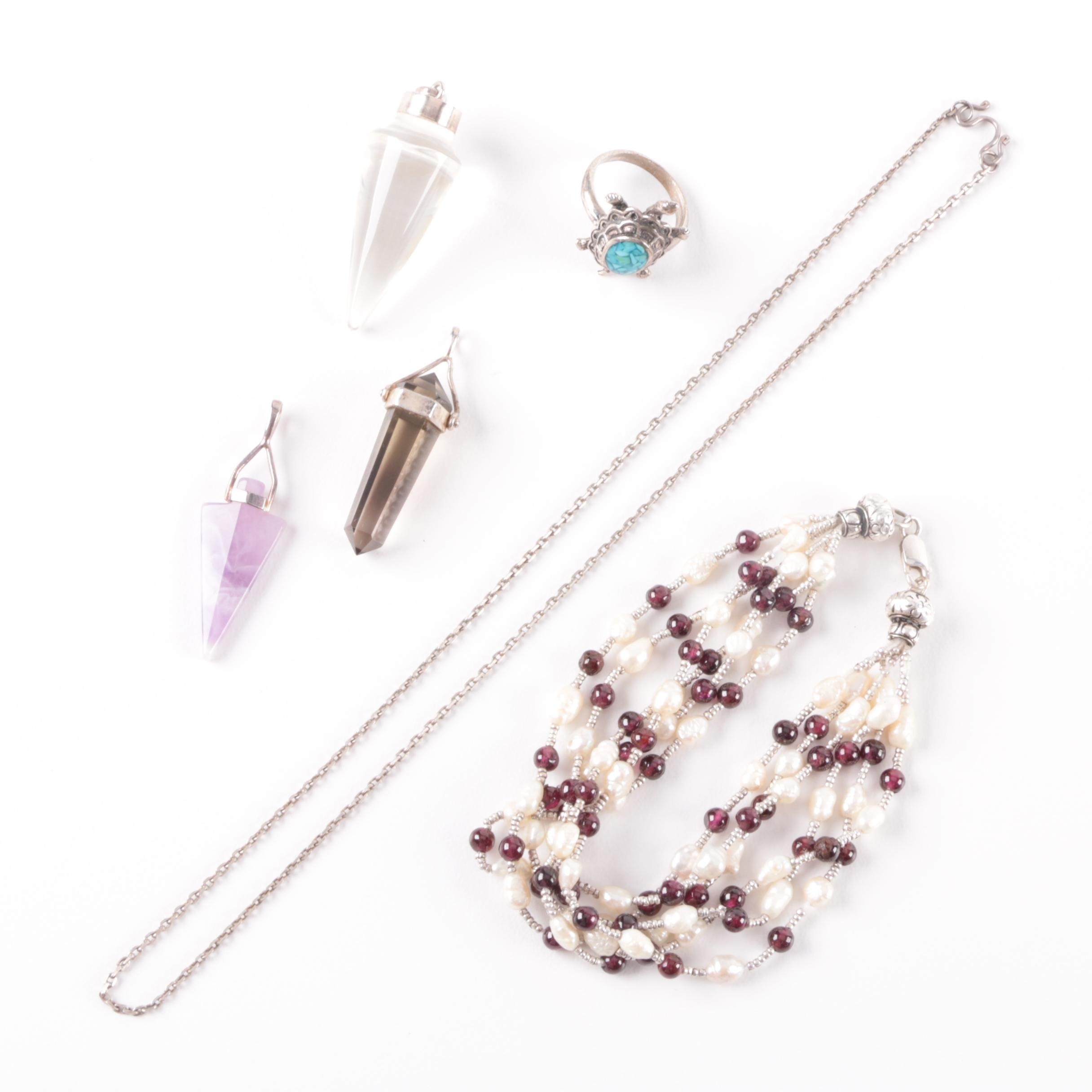 Sterling Silver Jewelry Including Amethyst