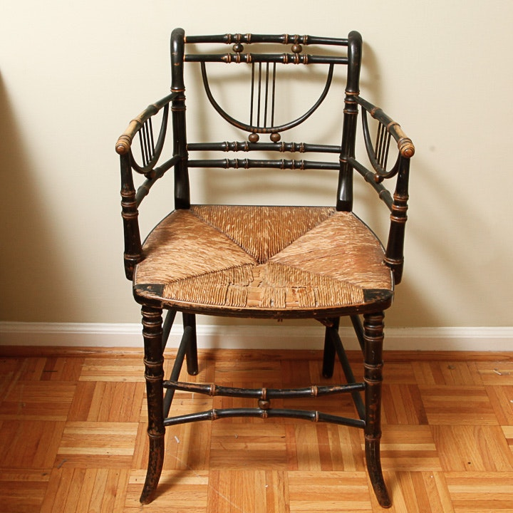 Antique English Regency Bamboo-Turned Fancy Chair